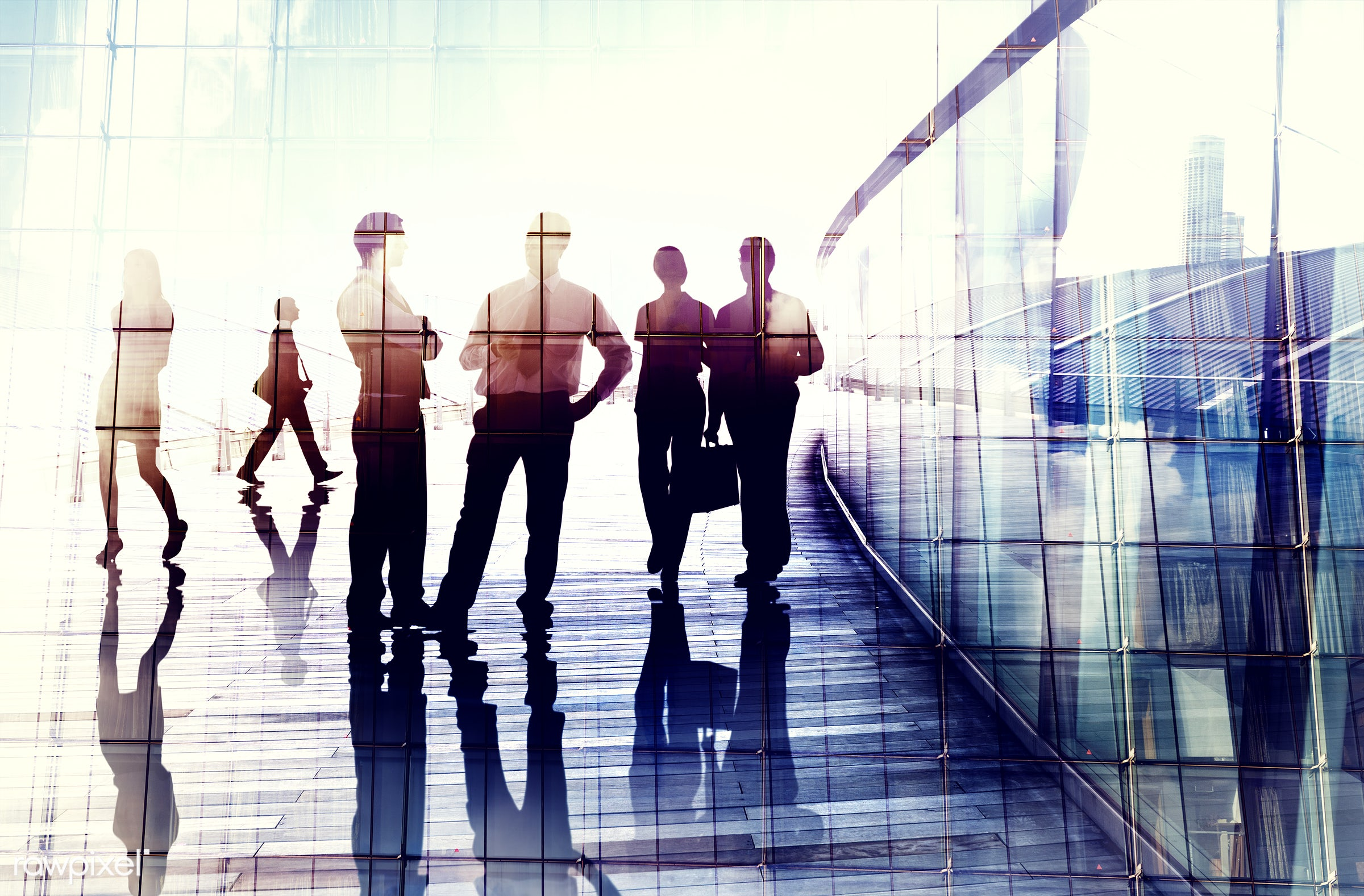 Large group of business people - back lit, brainstorming, bright, building, business, business people, businessmen,...