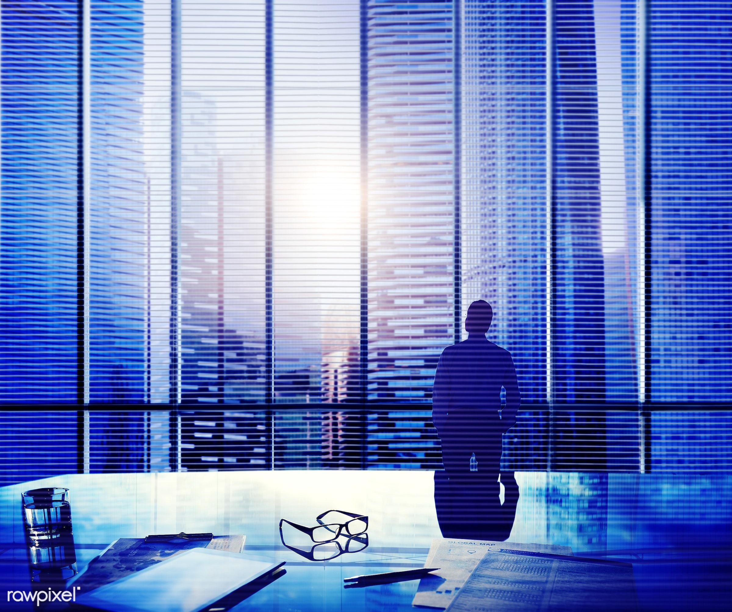 alone, aspiration, aspirations, backlit, blue, boss, break time, building, buildings, business, businessman, city, cityscape...