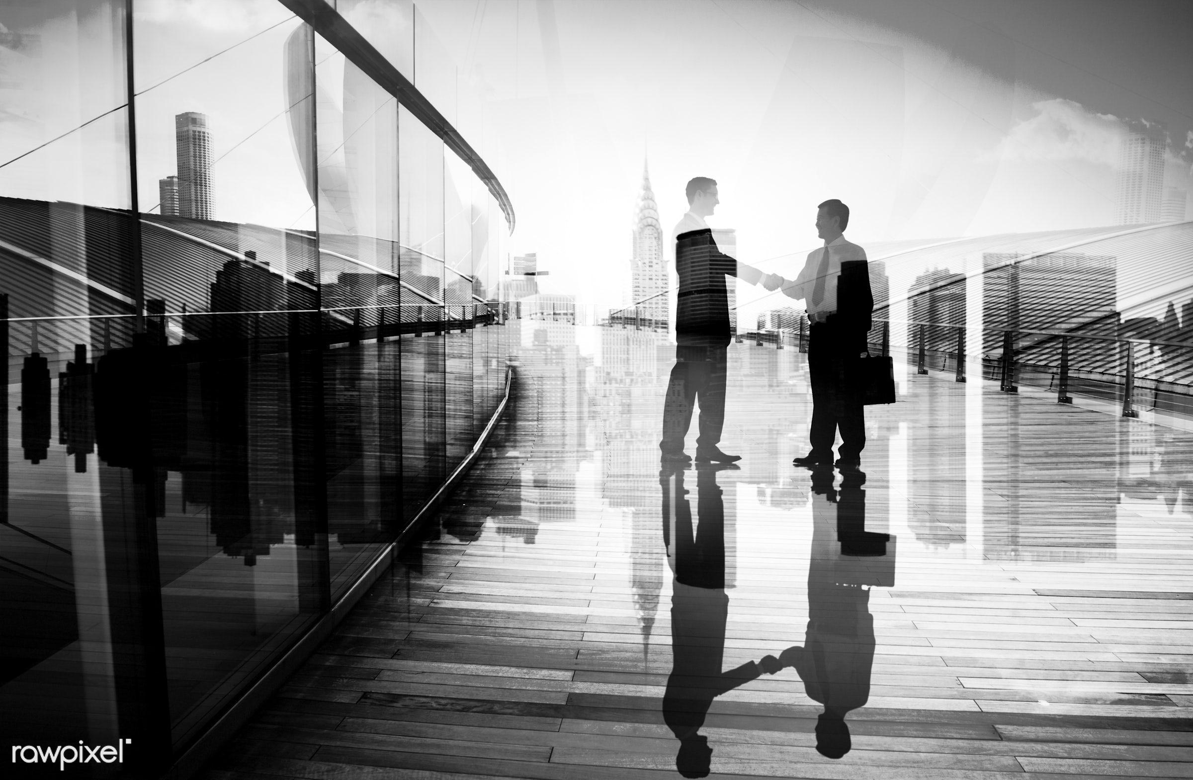 achievement, agreement, back lit, building, business, business people, businessmen, cityscape, colleague, communication,...