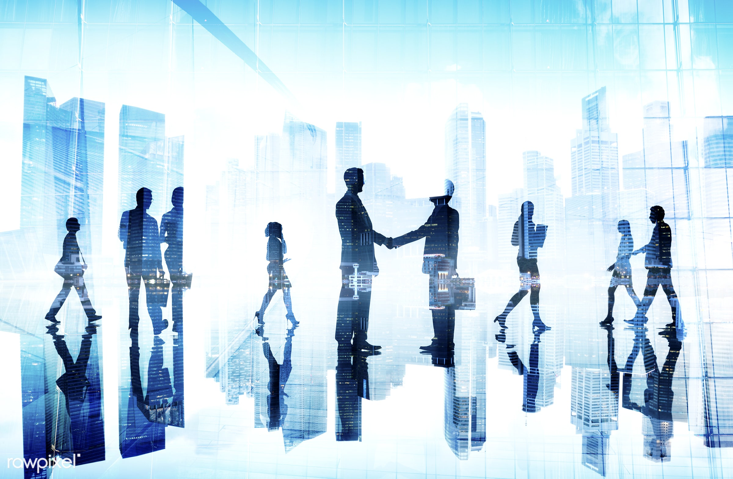 agreement, back lit, buildings, business, business people, businessmen, businesswomen, city, city scape, colleague,...