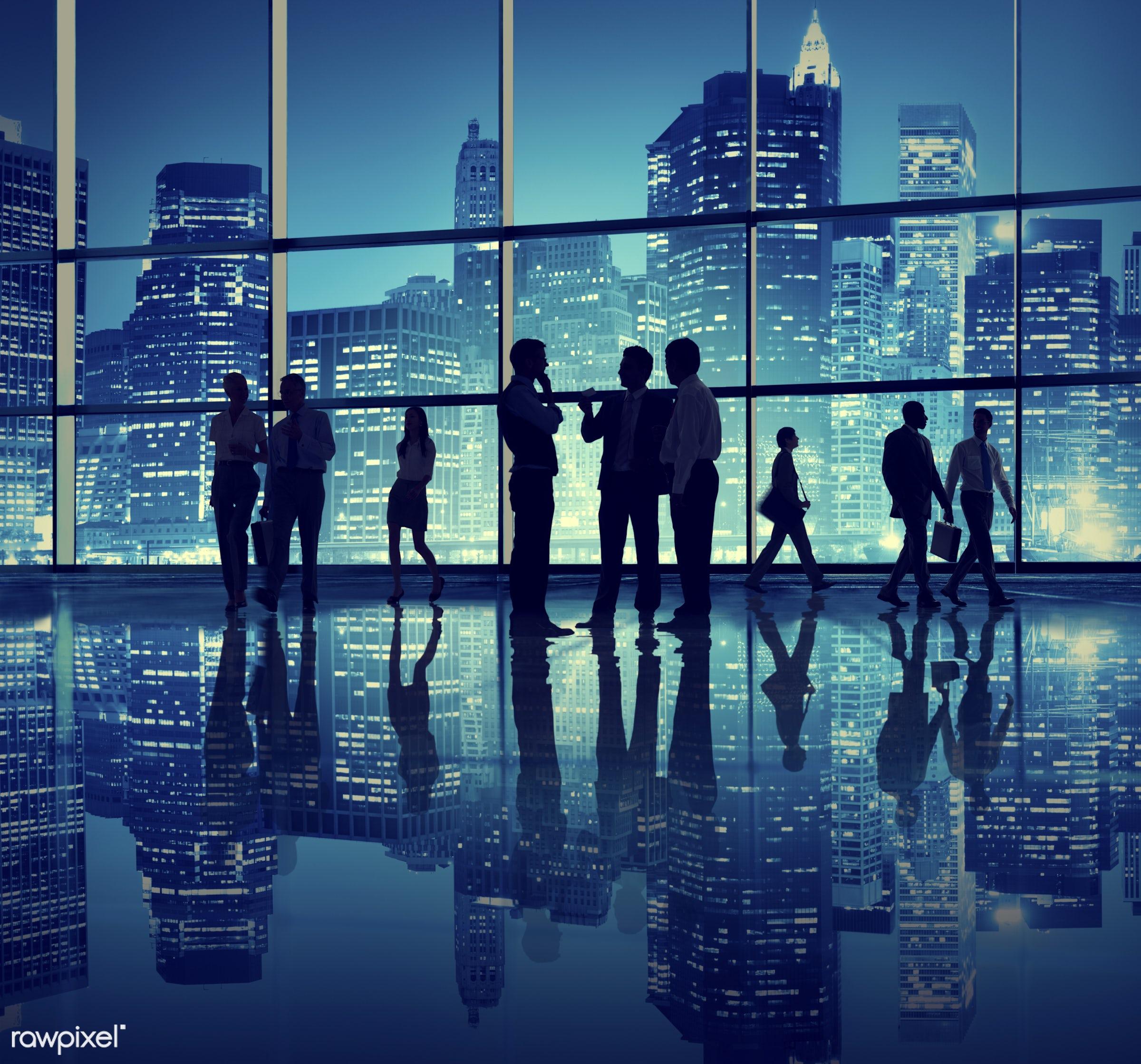 back lit, building exterior, building interior, business, businessmen, businesswomen, cityscape, cooperation, copy space,...