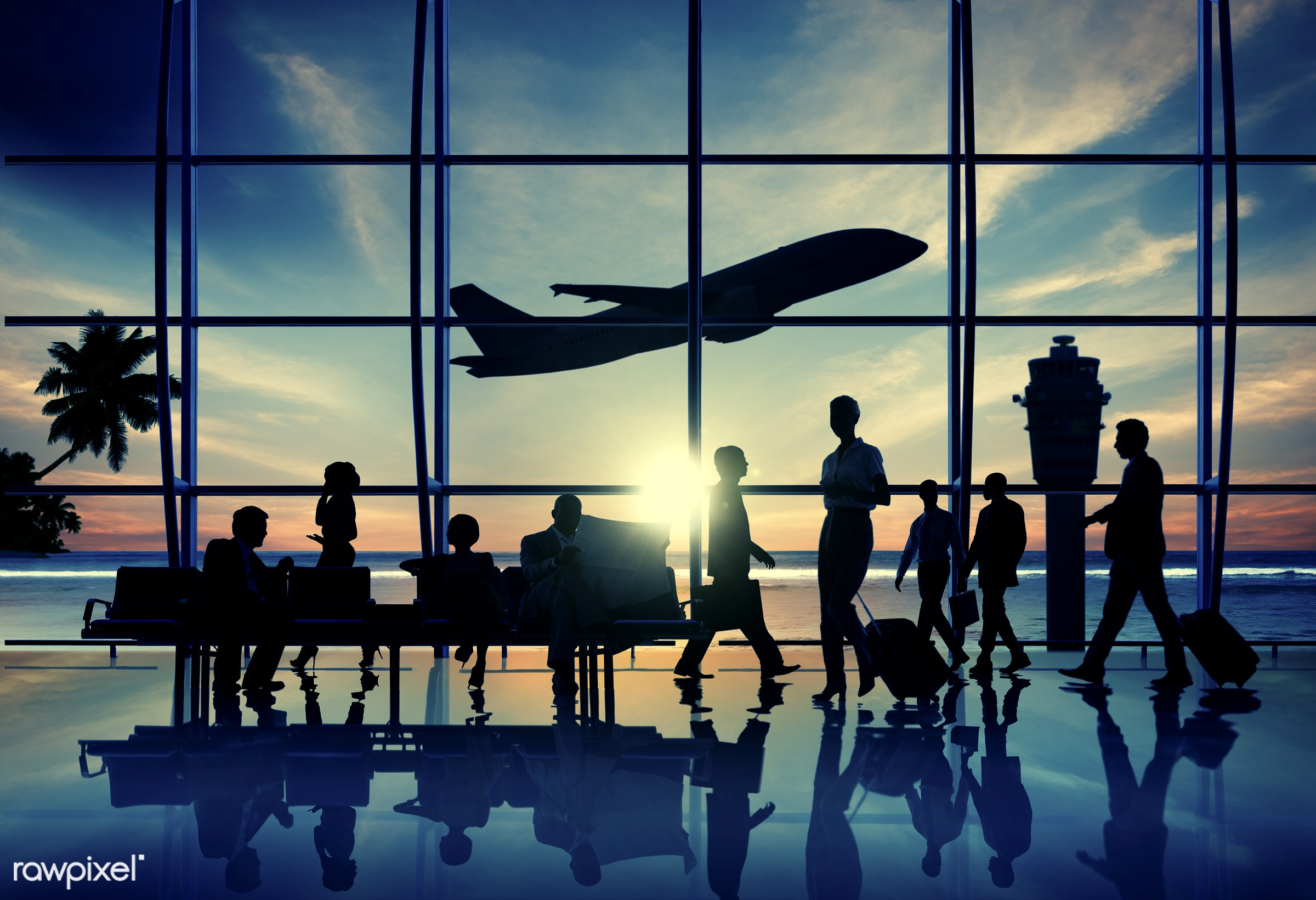 airline, airplane, airport, back lit, bench, business people, business travel, businessmen, businesswomen, cloud, cloudscape...