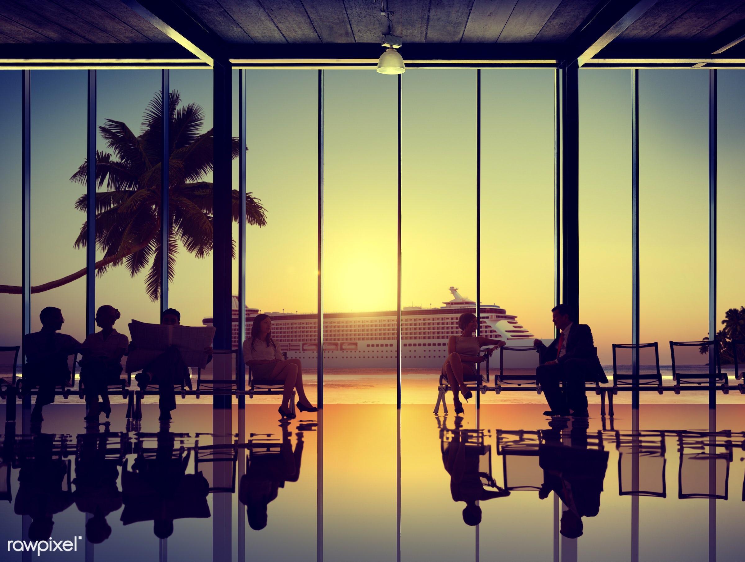 back lit, beach, boarding, business, business people, business travel, businessmen, businesswomen, colleague, commuter,...