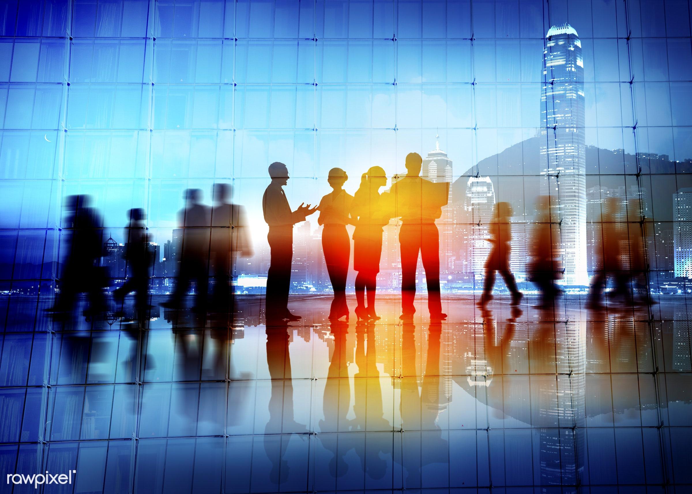 back lit, blurred motion, building interior, business, business people, business person, businessman, businesswoman, city,...