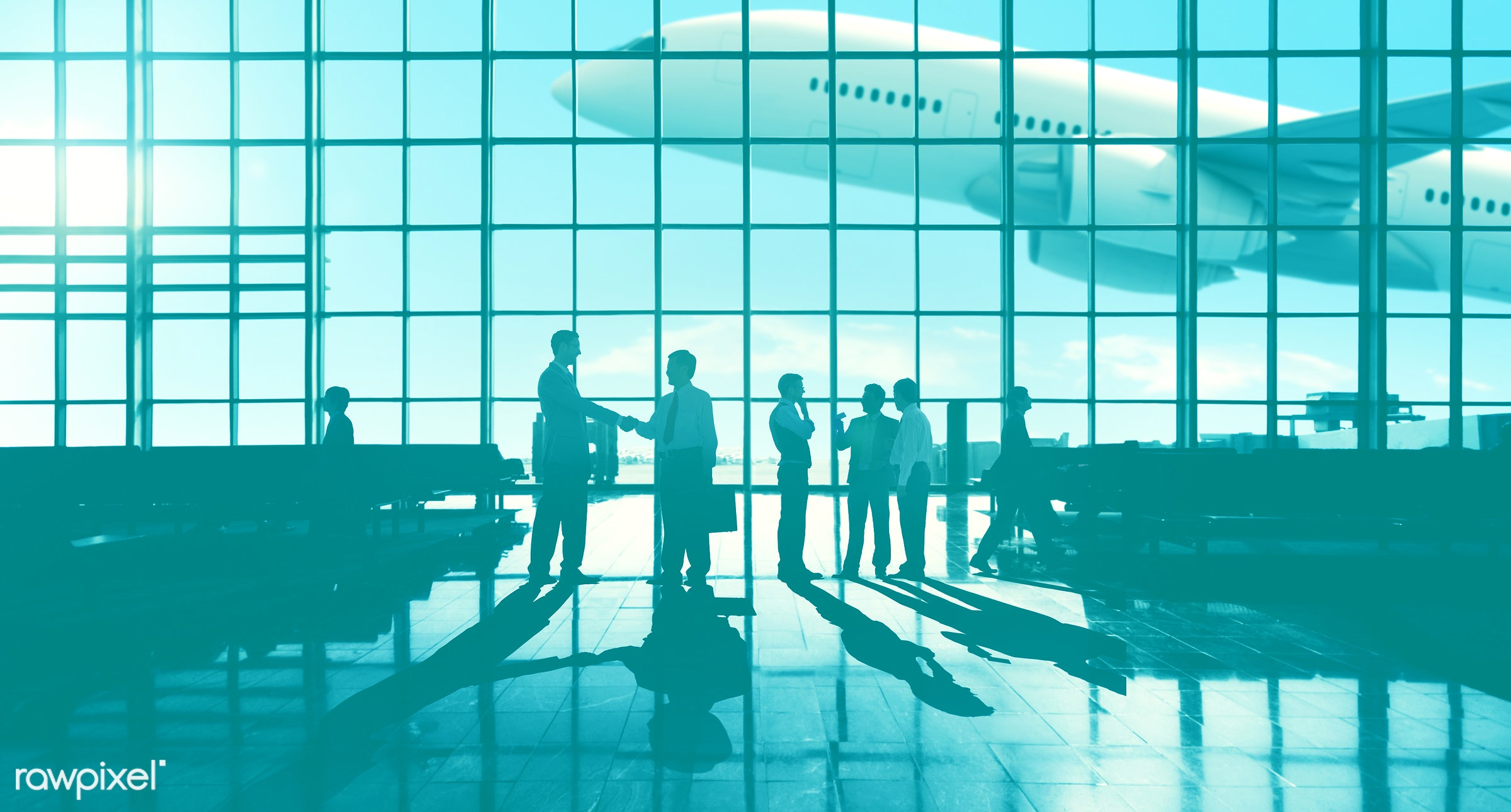 3d, agreement, aircraft, airline, airplane, airport, back lit, blue, business people, business travel, businessmen,...