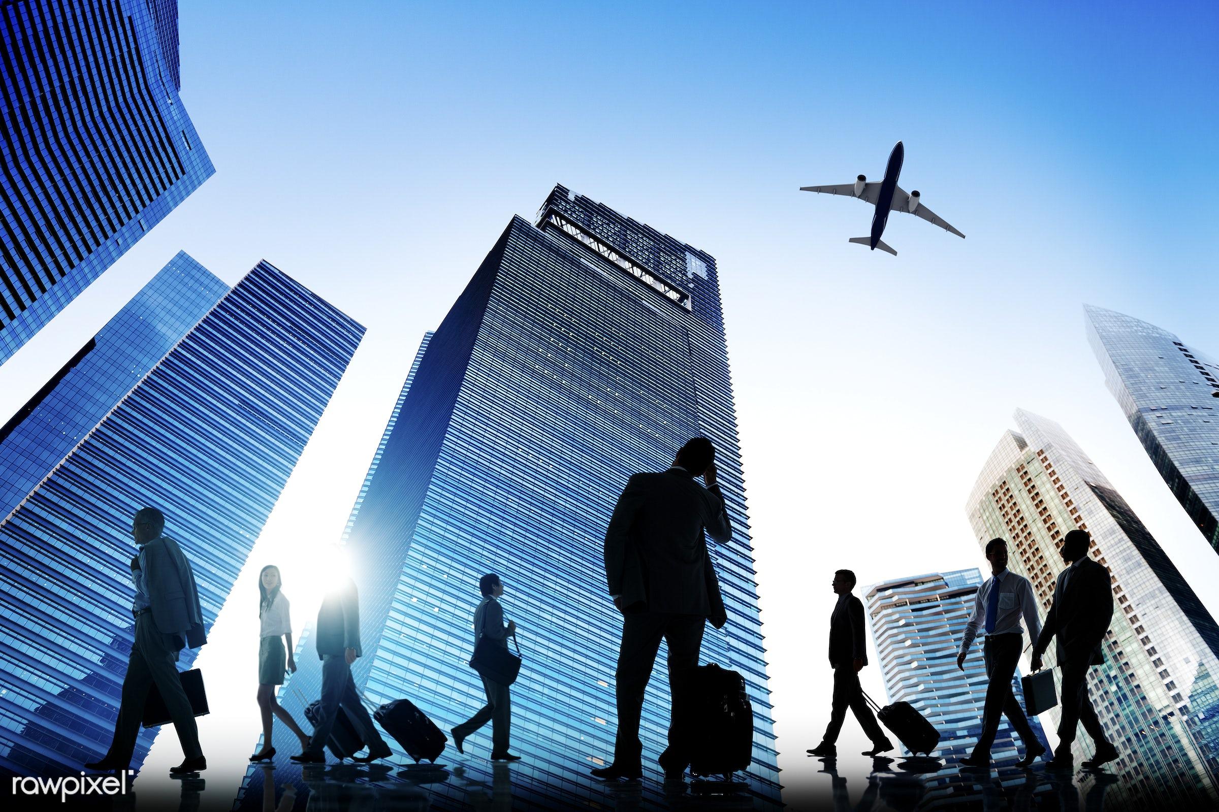 achievement, adult, aircraft, airplane, building, business, business people, businessman, businesswoman, city, cityscape,...