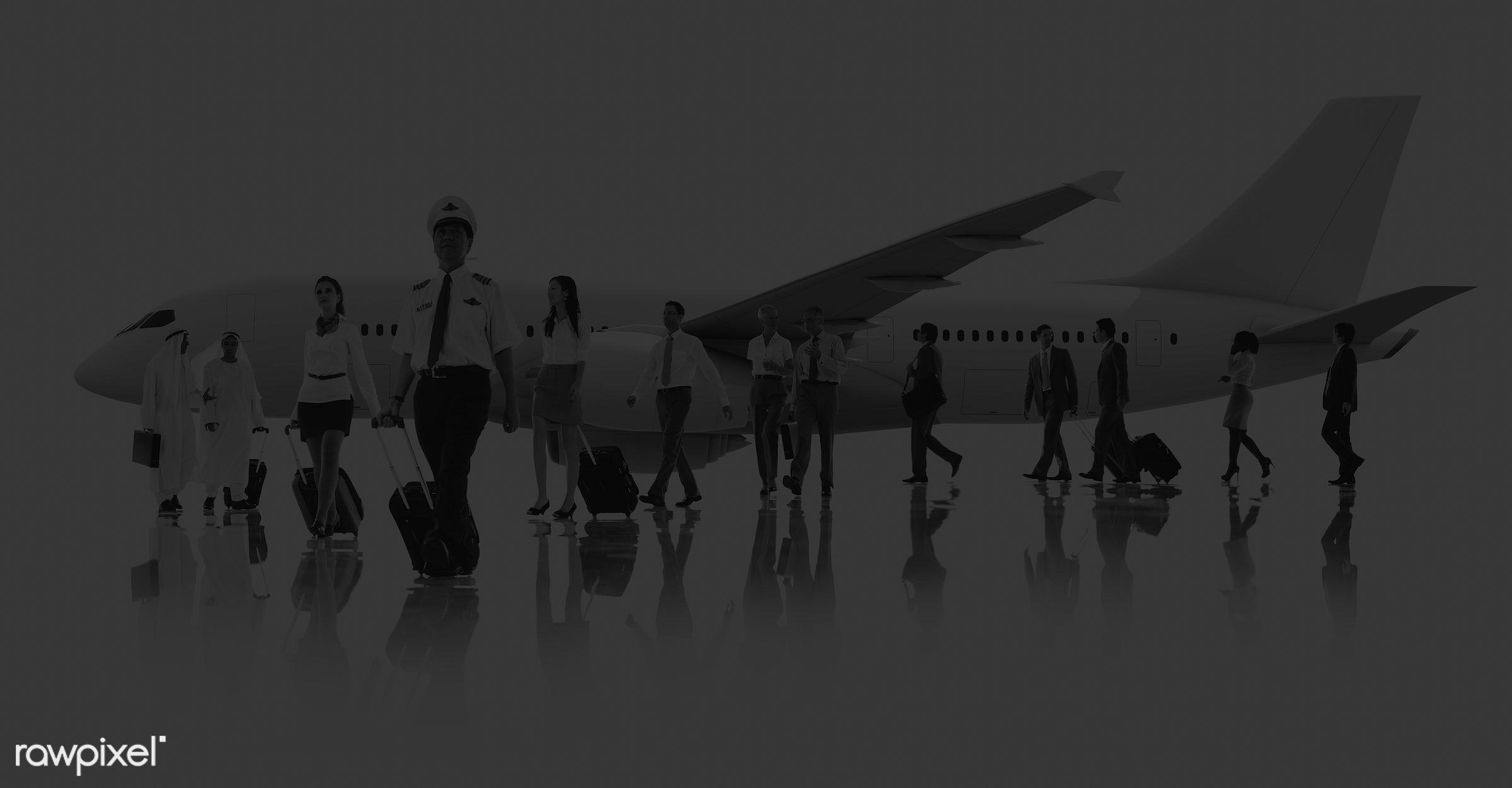 african descent, airplane, airport, asian ethnicity, business people, business travel, businessmen, businesswomen, cabin...