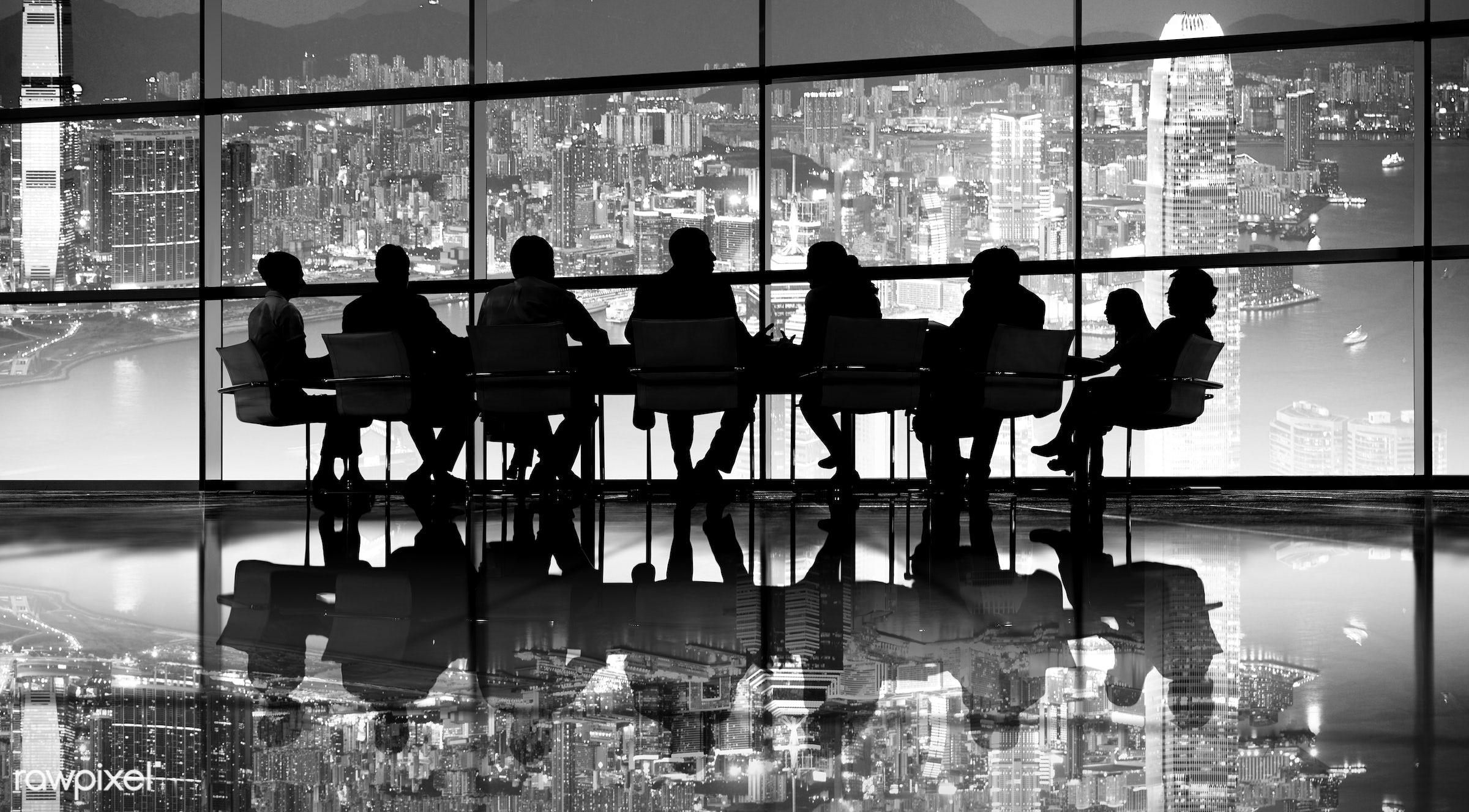 backlit, bay, board room, brainstorming, buildings, business, businessmen, businesswomen, city, cityscape, colleagues,...