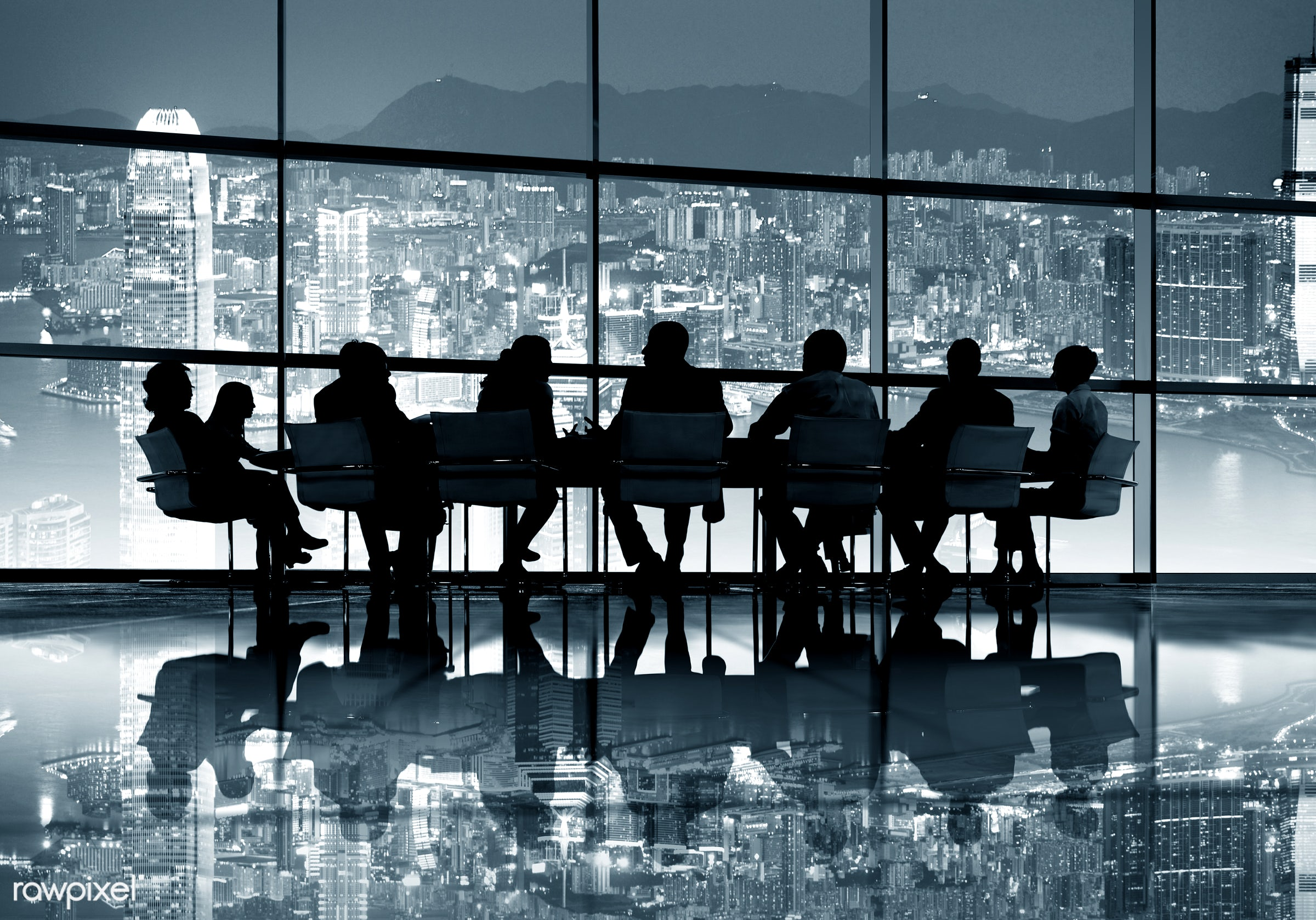backlit, bay, board room, brainstorming, buildings, business, businessmen, businesswomen, city, cityscape, colleagues,...