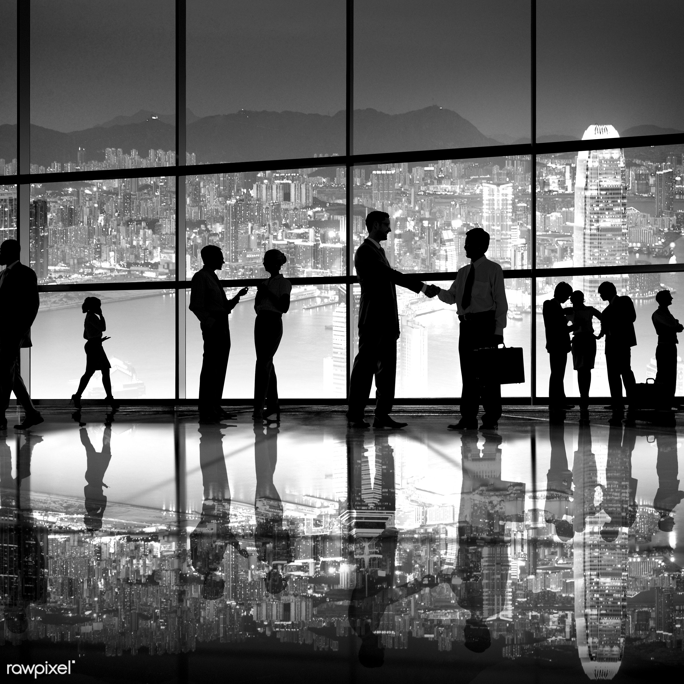 agreement, backlit, bay, buildings, business, businessmen, businesswomen, chatting, city, collaboration, colleagues,...
