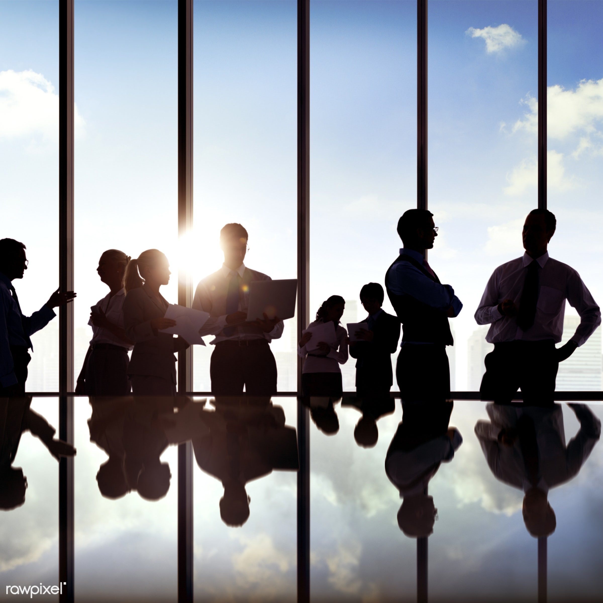 back lit, board room, building interior, business, businessmen, businesswomen, career, chatting, city, cityscape, colleagues...