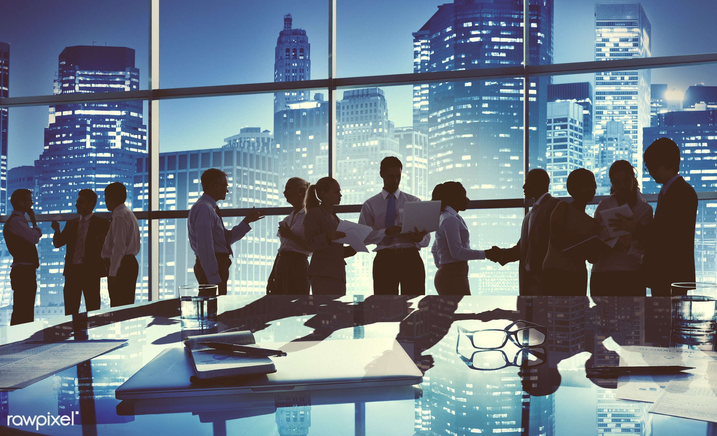 agreement, back lit, board room, buildings, business, businessmen, businesswomen, career, chatting, city, cityscape,...