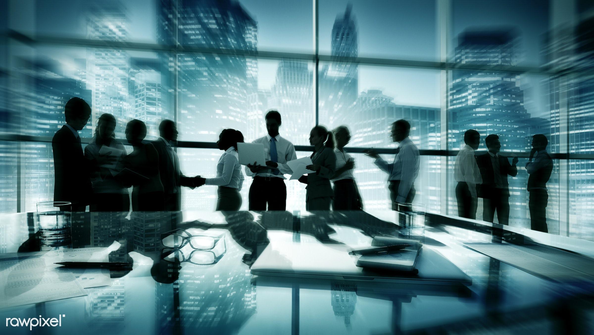 agreement, back lit, board room, buildings, business, businessmen, businesswomen, career, chatting, city, cityscape,...