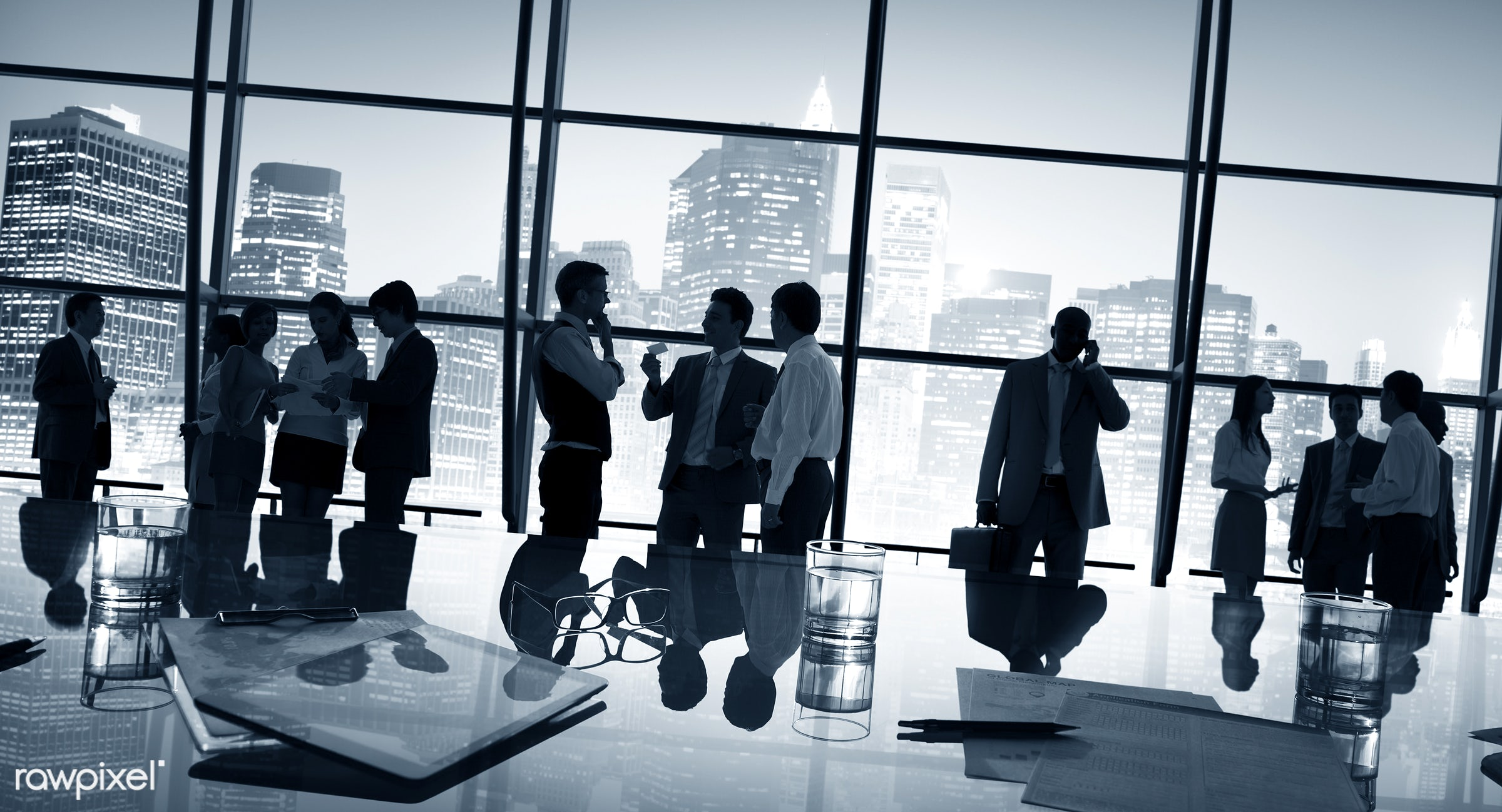 back lit, board room, buildings, business, businessmen, businesswomen, career, chatting, city, cityscape, colleagues,...
