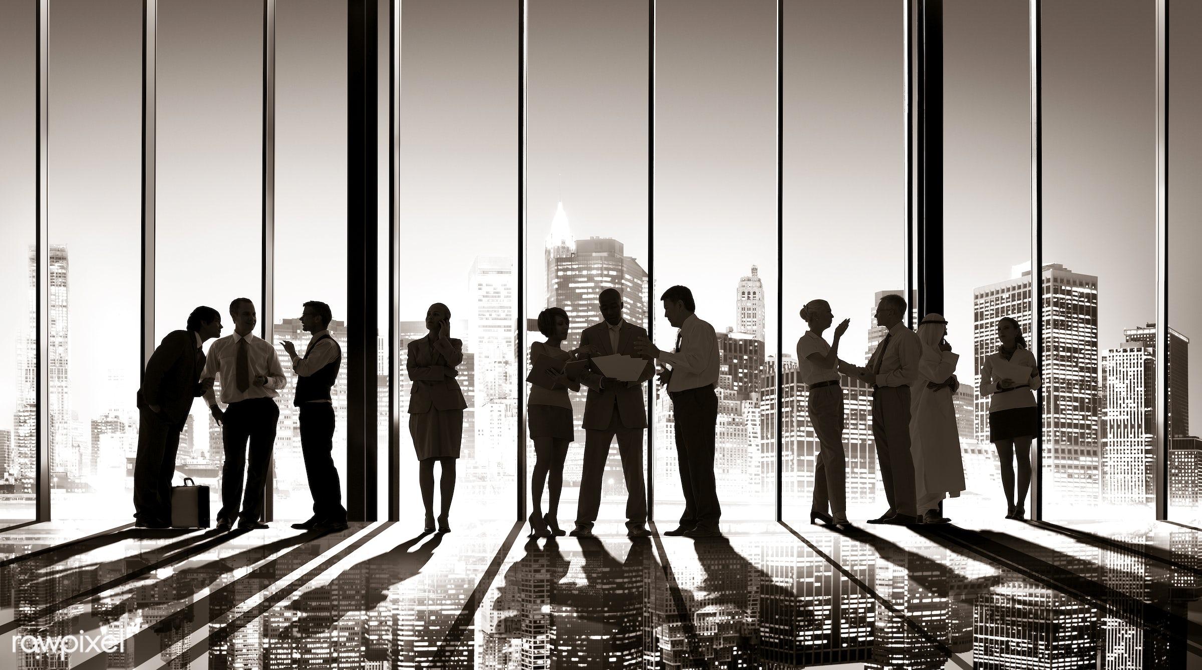 back lit, brainstorming, building interior, business, businessmen, businesswomen, career, chatting, city, city lights,...