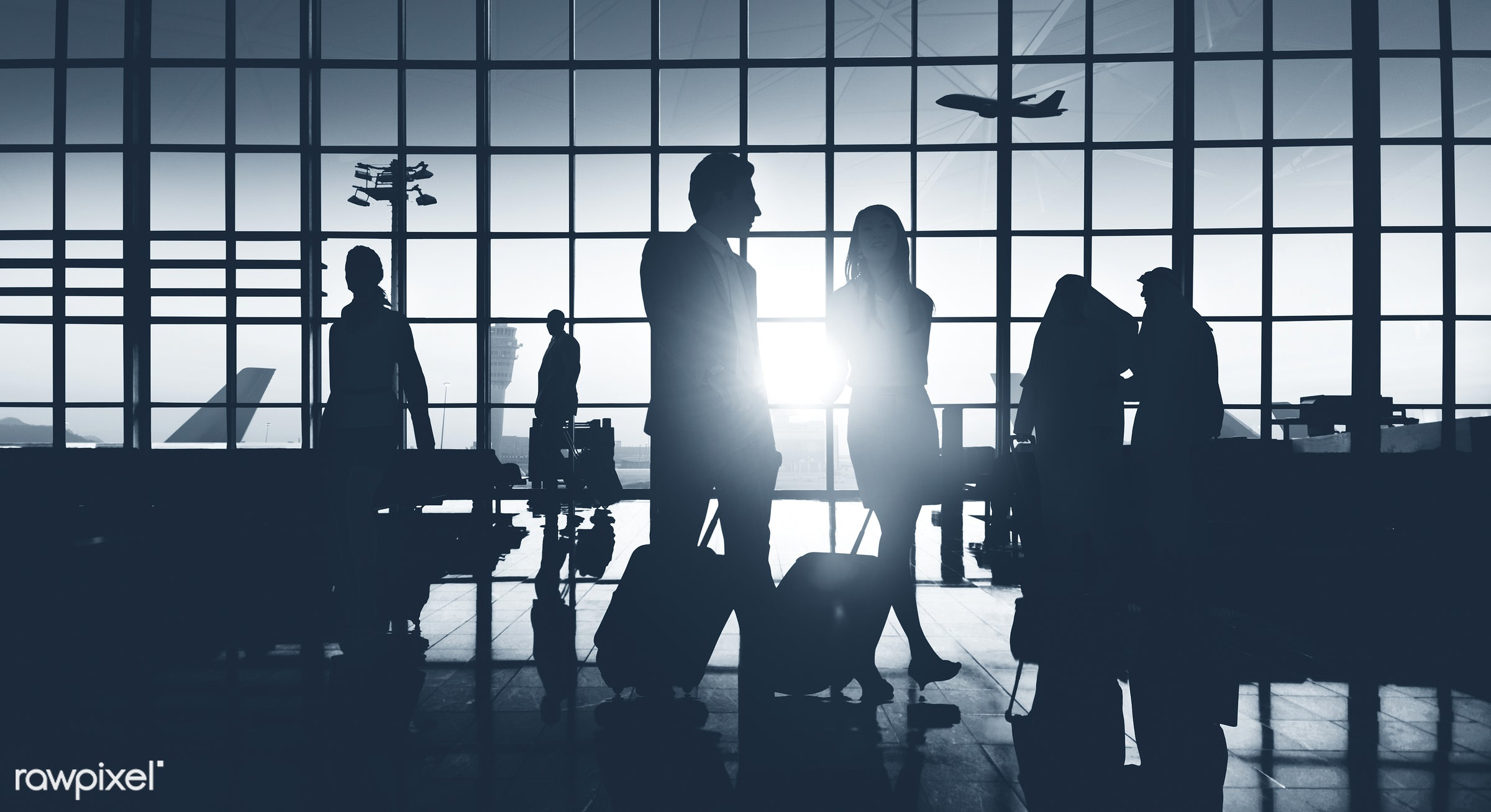 3d, airplane, airport, back lit, building, business, business people, business travel, businessmen, businesswomen, city,...