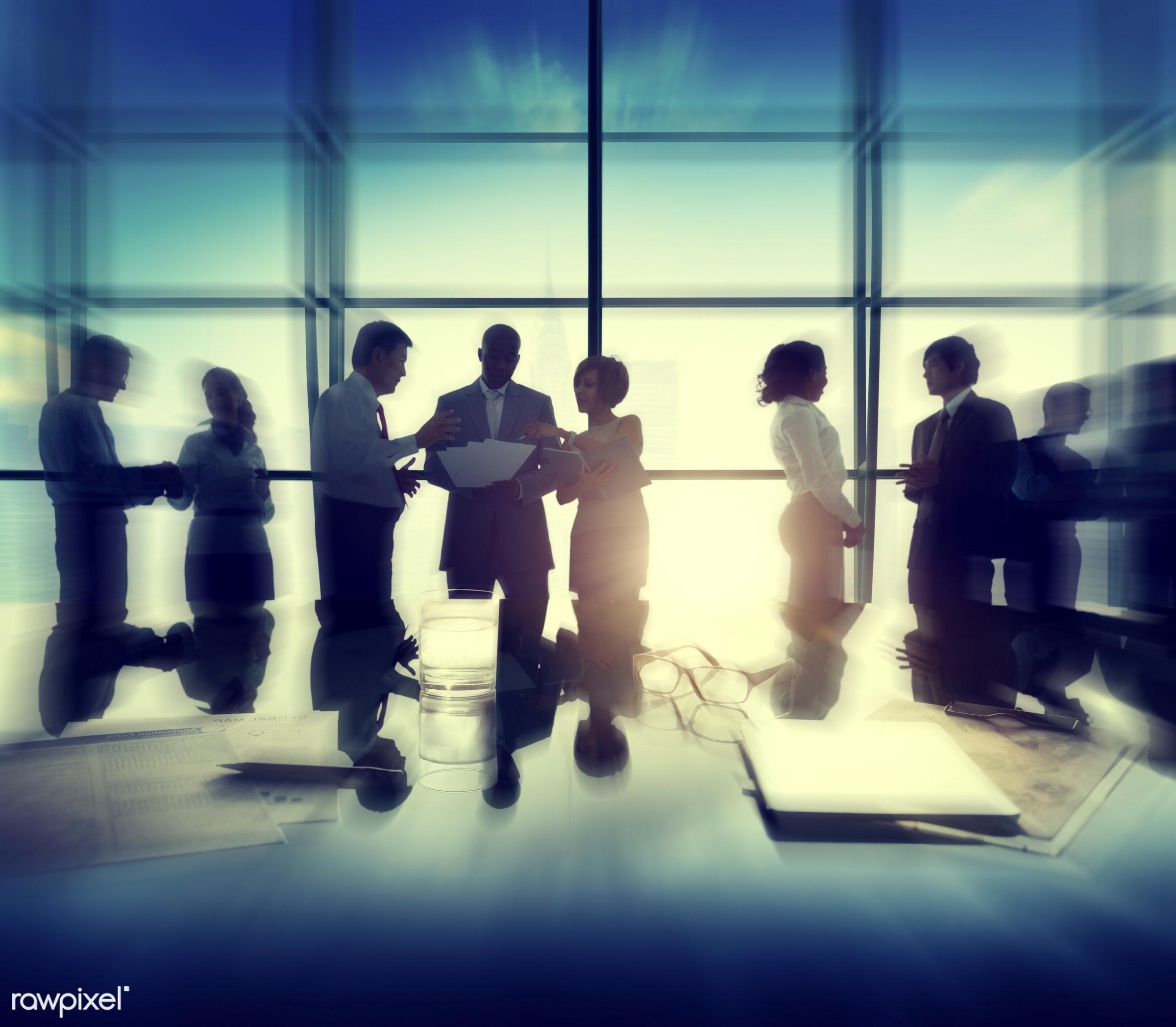 back lit, brainstorming, building, business, business people, businessmen, businesswomen, busy, cityscape, colleagues,...