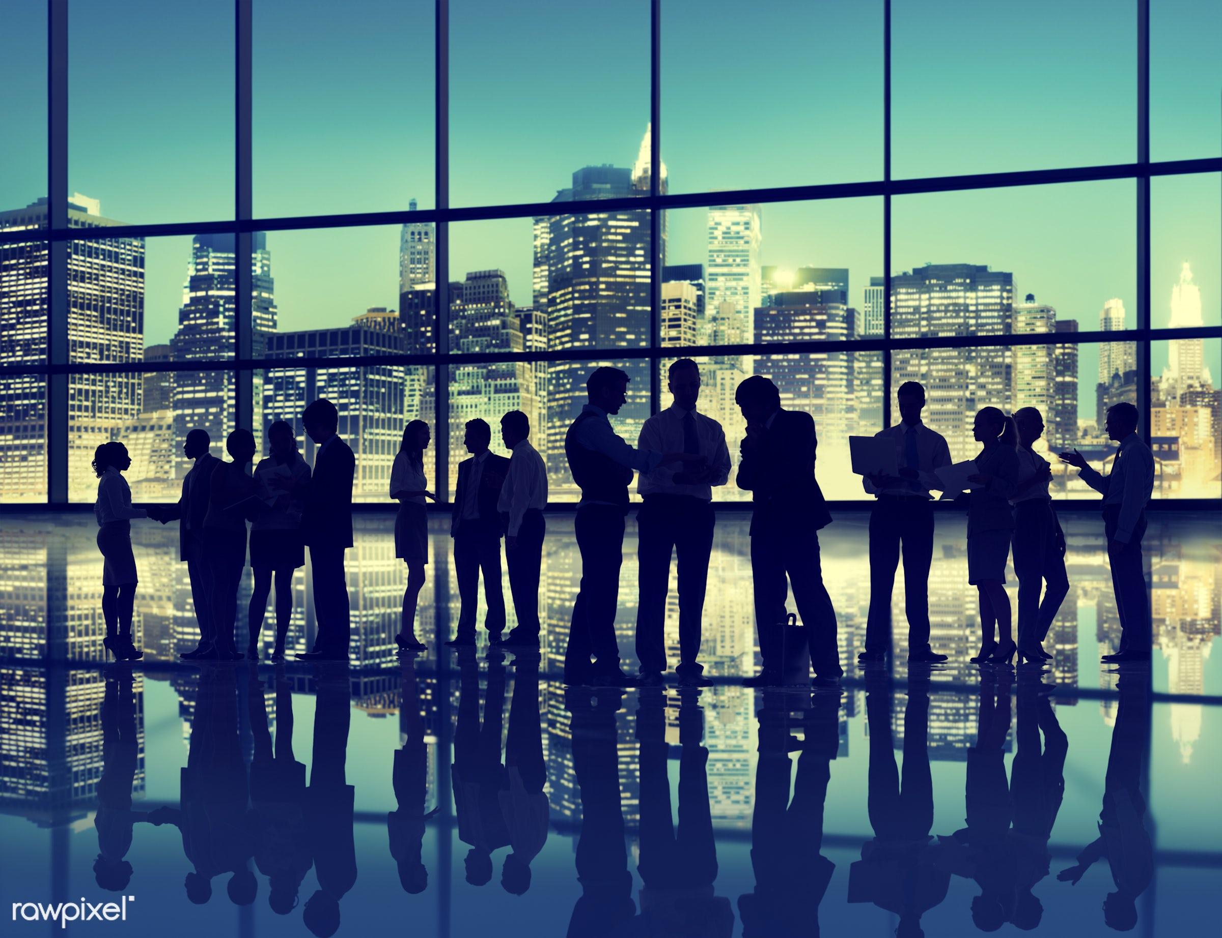 agreement, brainstorming, buildings, business, business people, businessmen, businesswomen, city lights, cityscape,...