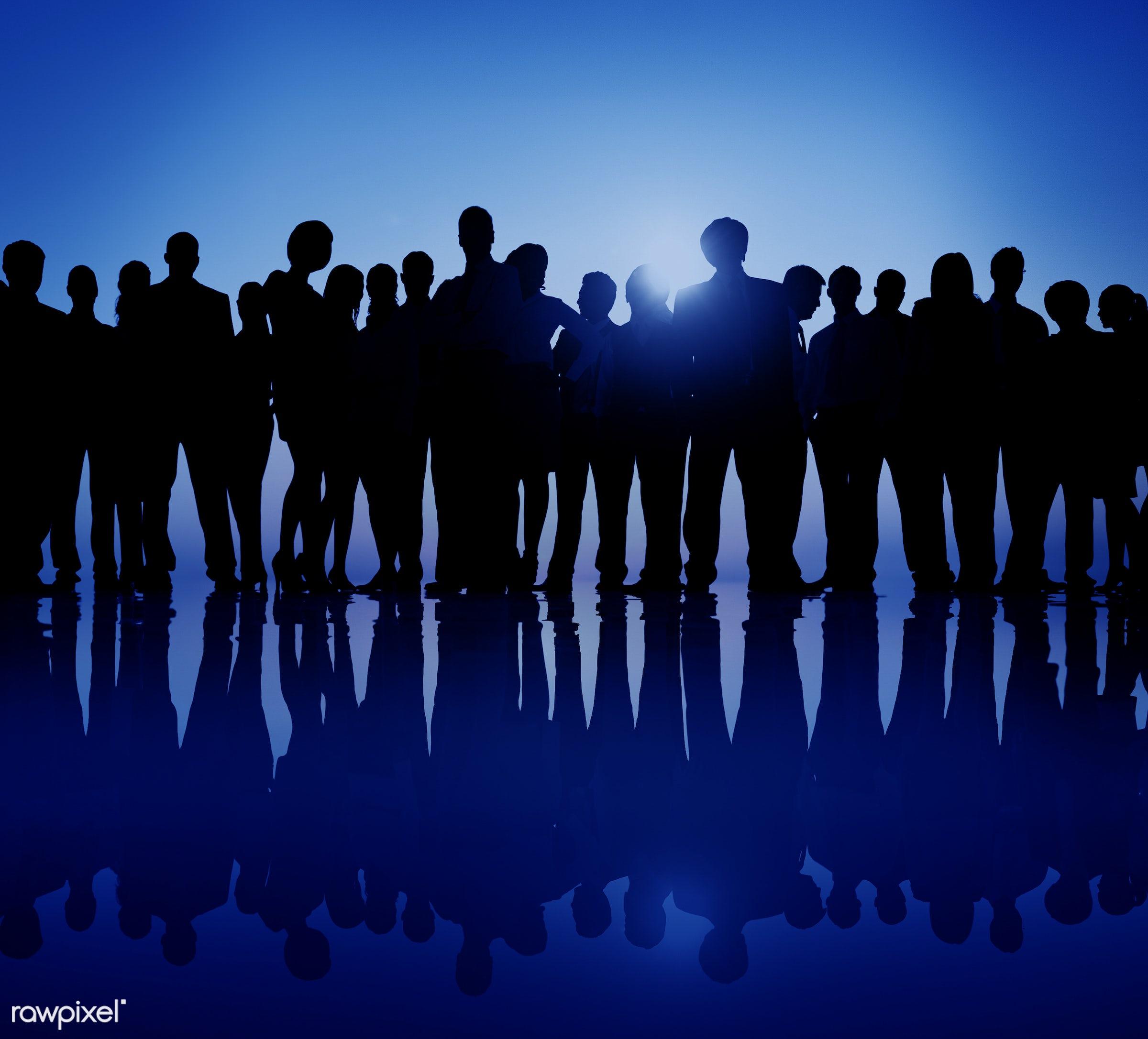 Dusk, back lit, business, businessmen, businesswomen, career, colleague, confidence, connection, corporate, crowd, dawn,...