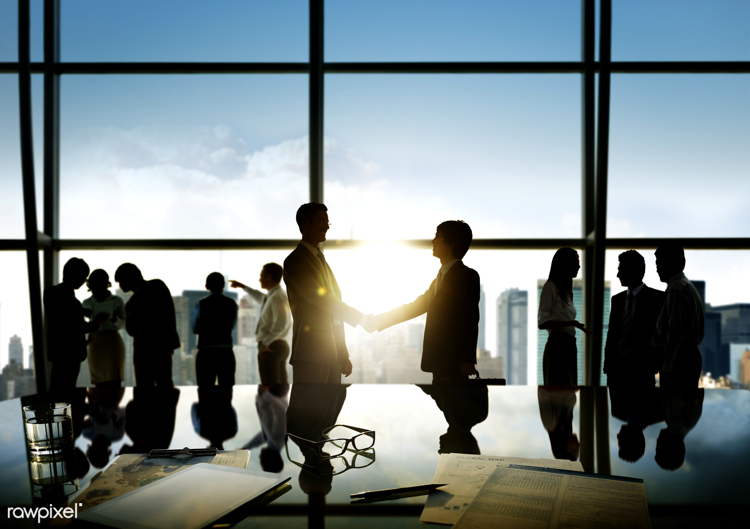 Business people in a board room meeting - consulting, document, handshake, activity, administrative, adult, advice,...