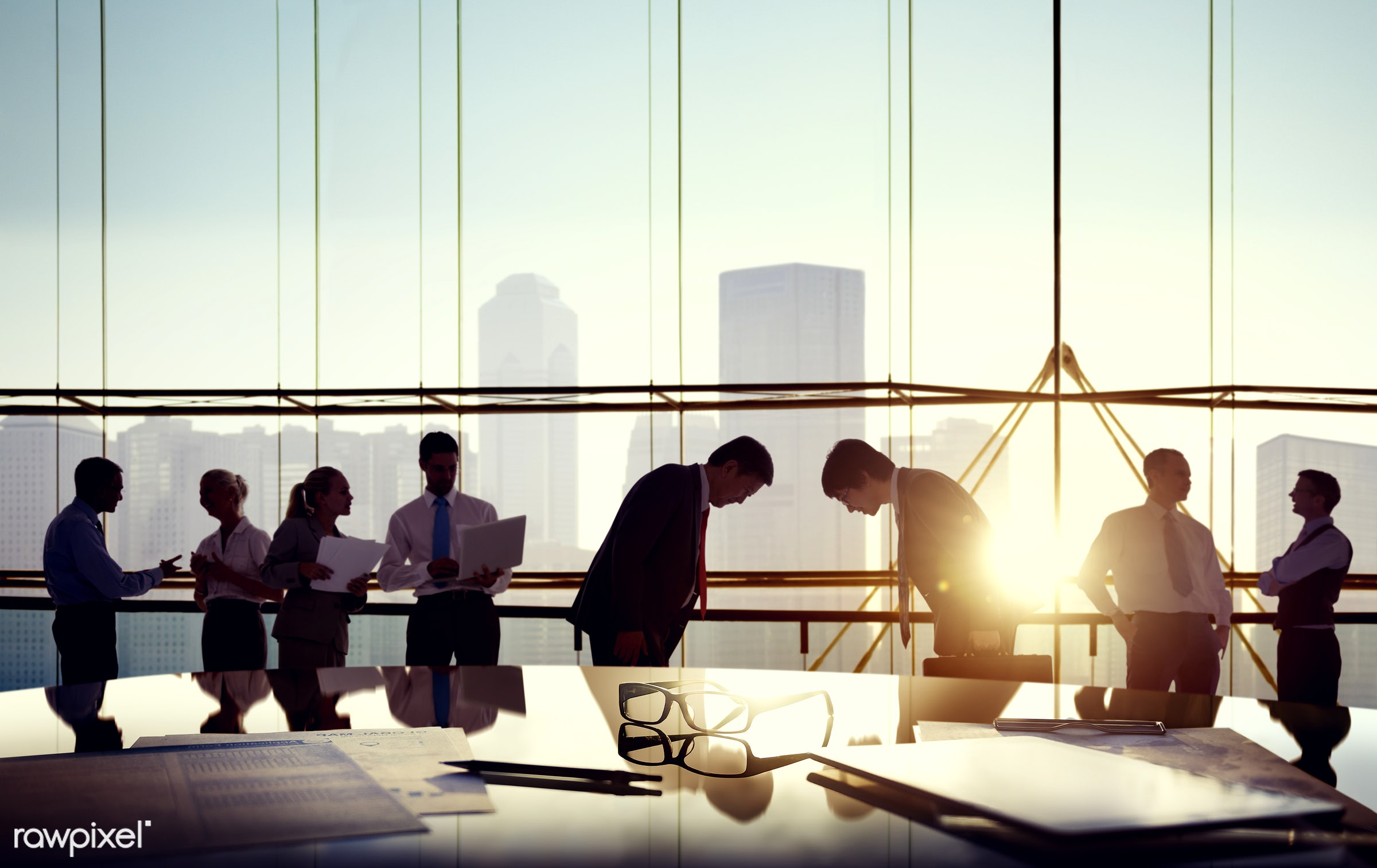 Business people in a board room meeting - activity, administrative, adult, advice, agreement, analyzing, asian ethnicity,...