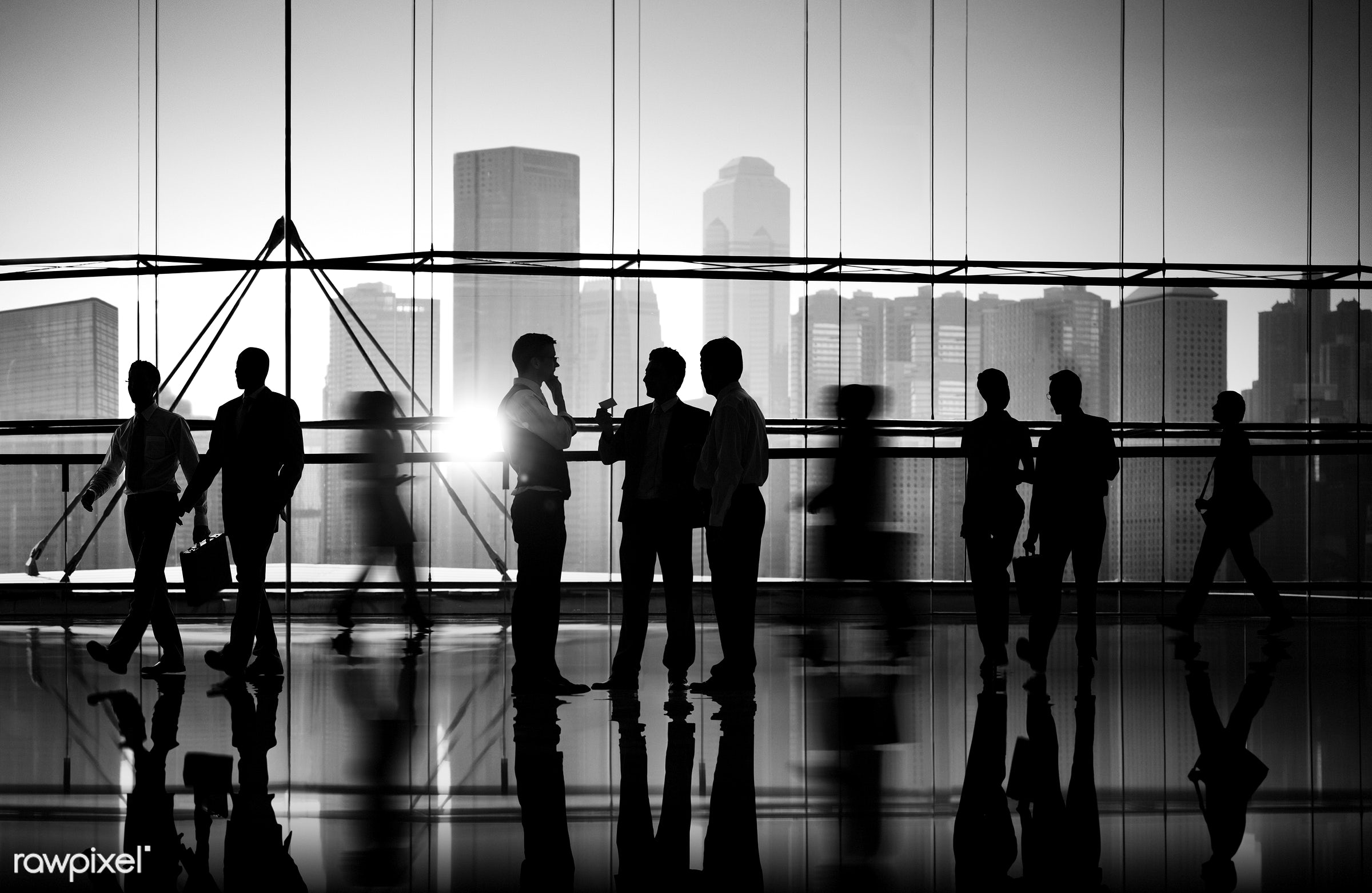 Busy business people walking - cityscape, crowd, activity, adult, agreement, briefcase, business, business partner, business...