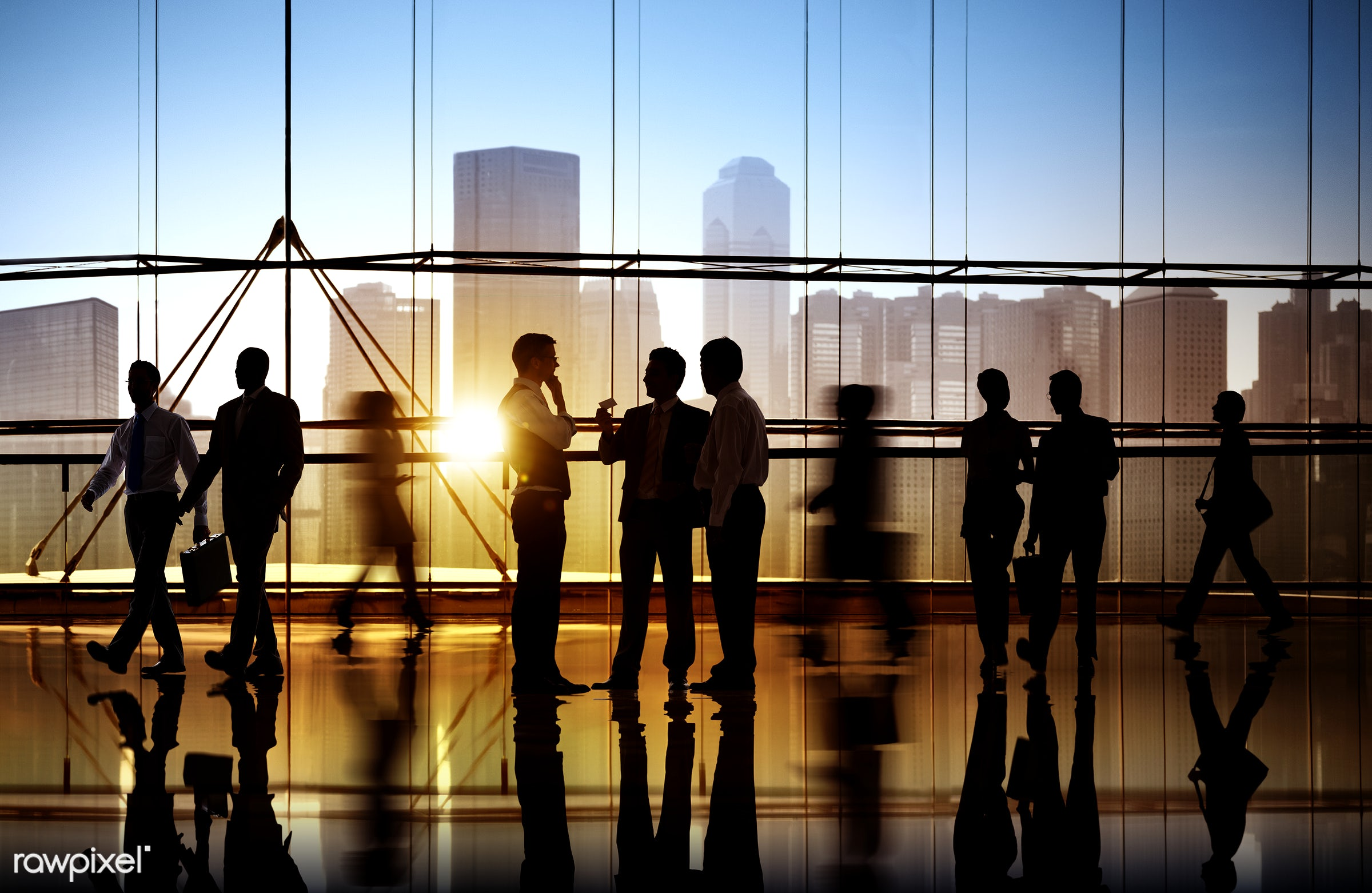 Busy business people walking - agreement, conference, crowd, team, activity, adult, briefcase, business, business partner,...