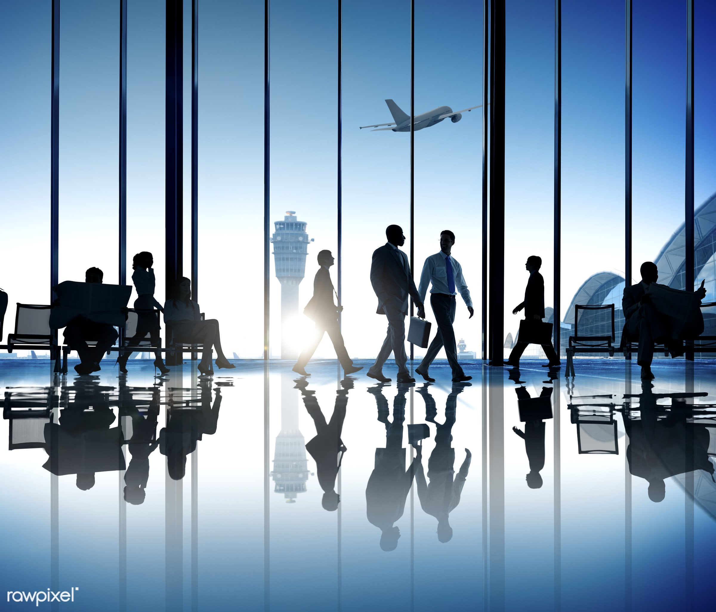 Corporate business travel - luggage, business travel, transportation, aircraft, airline, airplane, airport, business,...