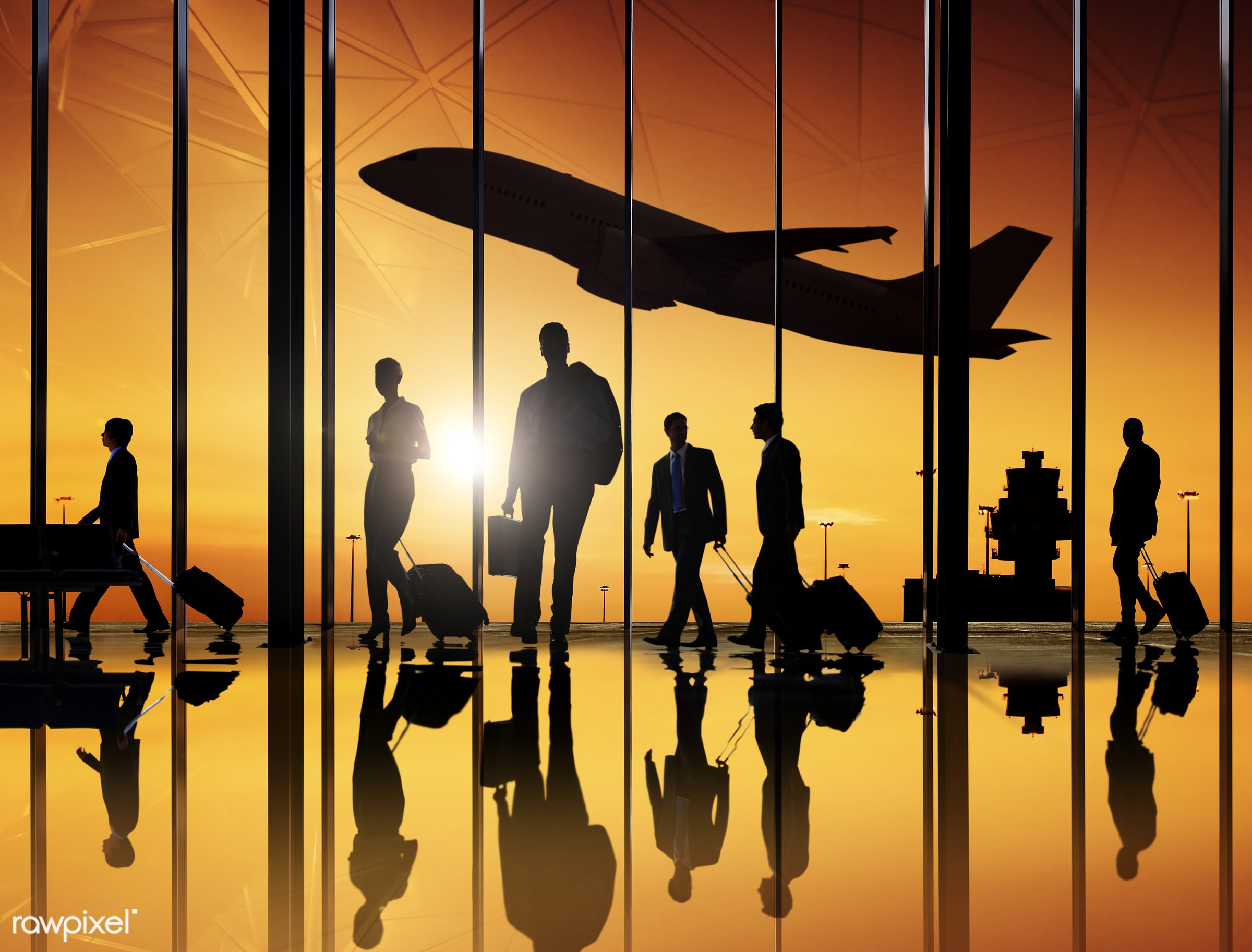 dusk, lifestyles, airplane, airport, back lit, building interior, business, business men, business people, business travel,...