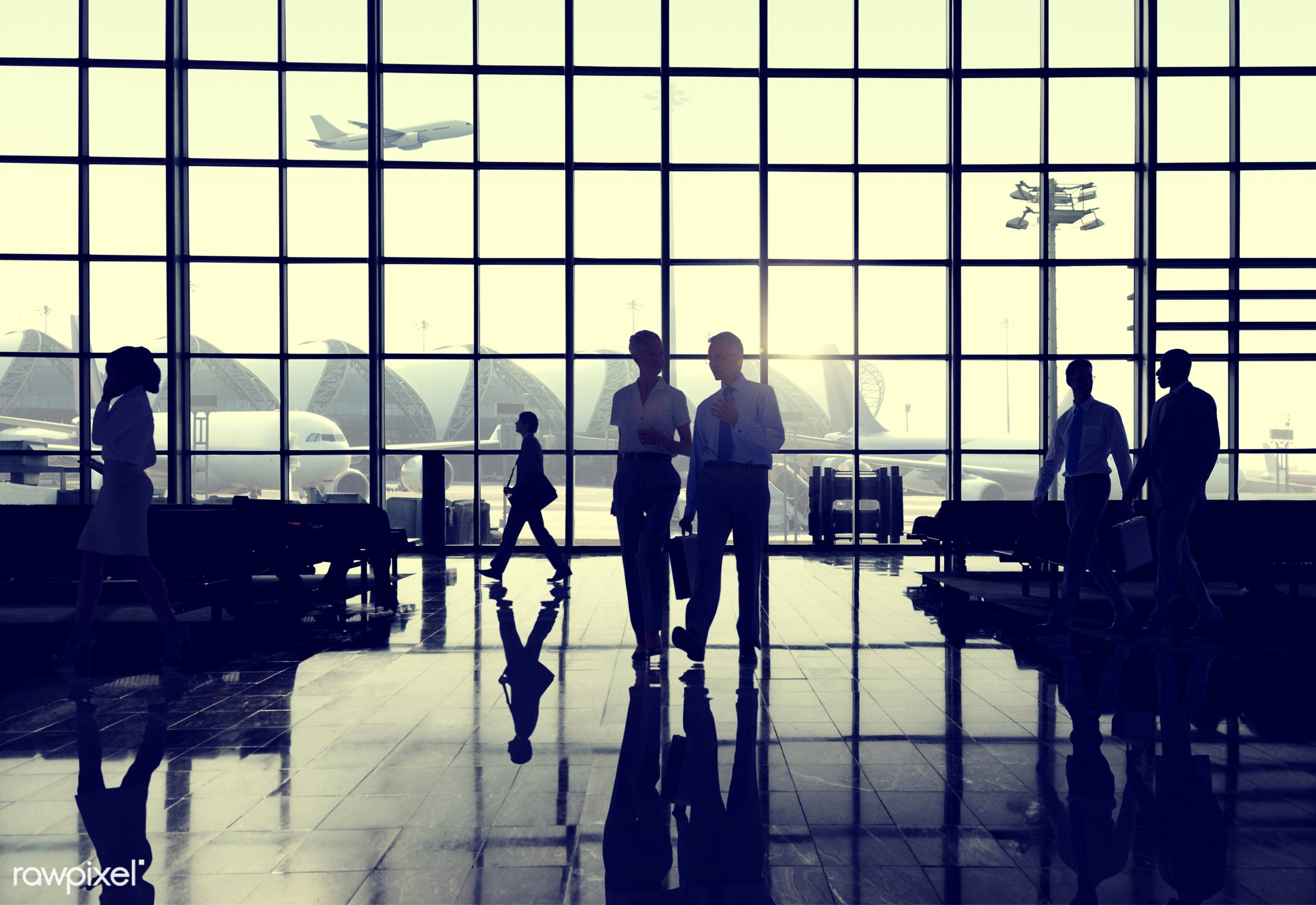 airplane, airport, back lit, business, business people, business travel, businessmen, businesswomen, colleague,...