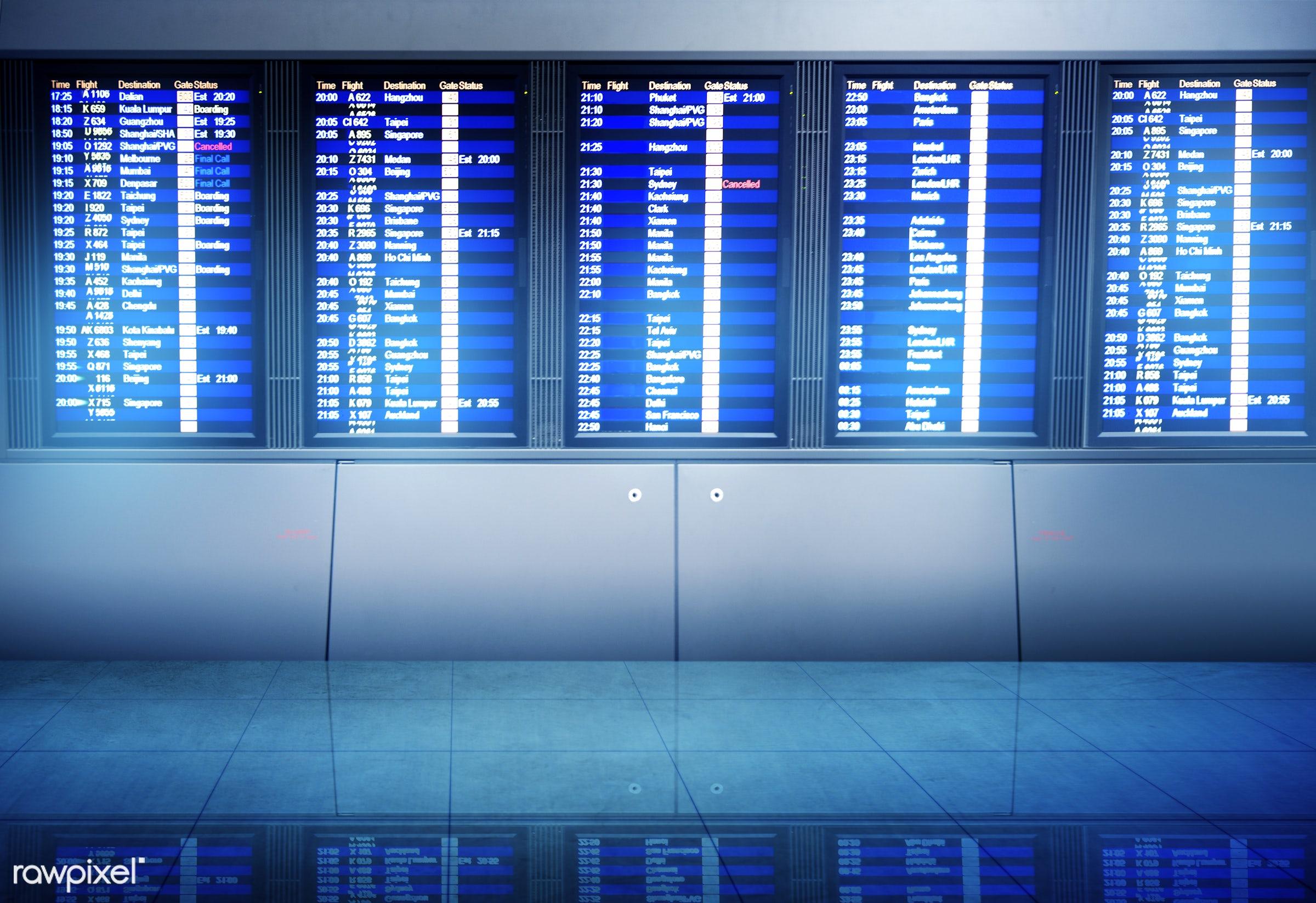 airline, airport, arrival, billboard, board, boarding, business, departure, destination, digital, direction, display, flight...