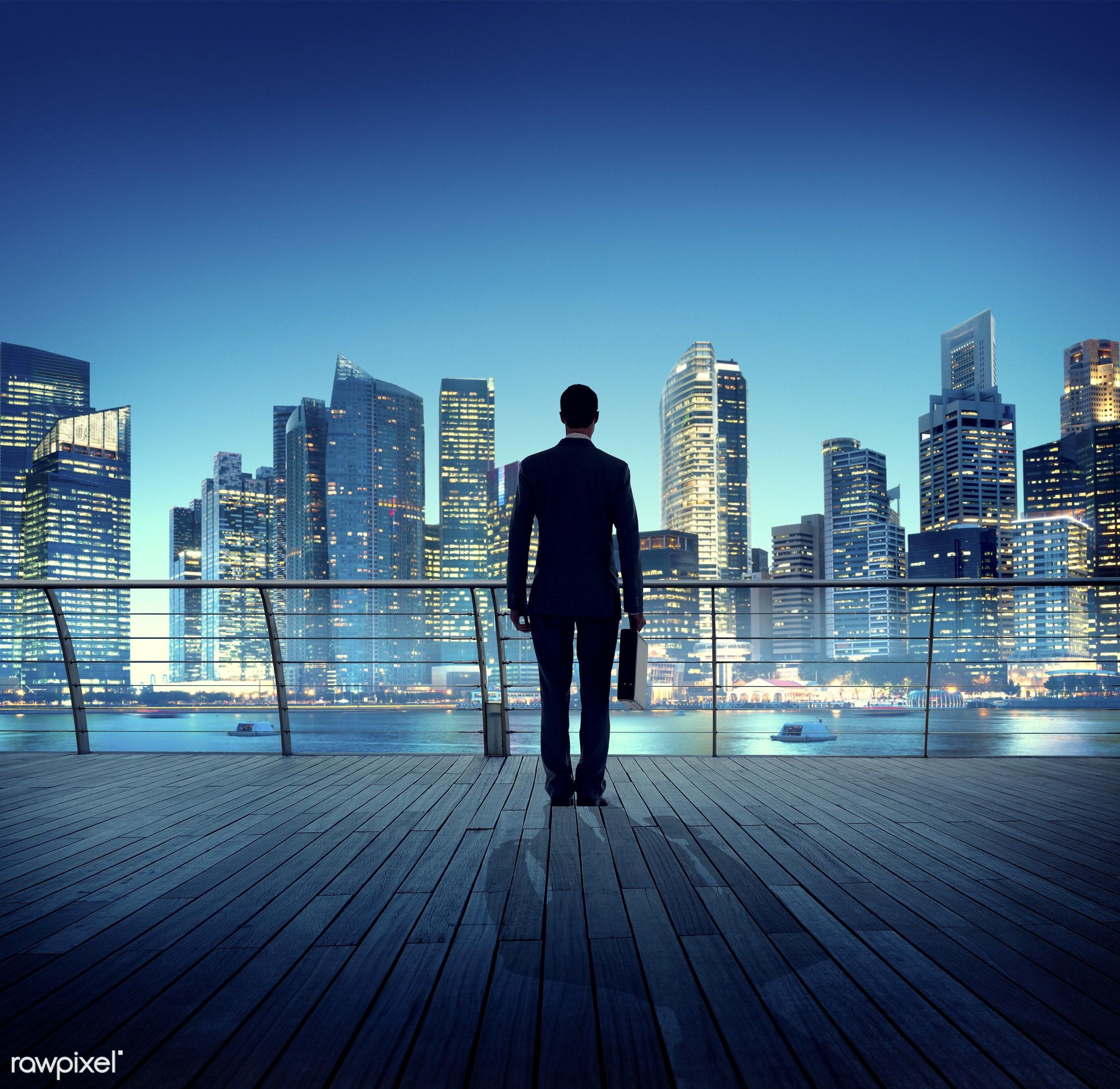 contemporary, building, business, businessman, city, city lights, cityscape, contemplation, corporate, man, modern, night,...
