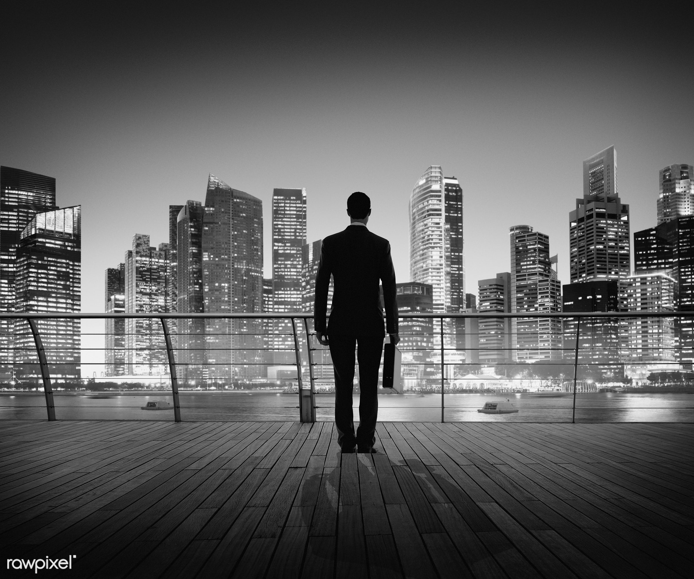 contemporary, building, business, businessman, city, city lights, cityscape, contemplation, corporate, man, modern, night,...
