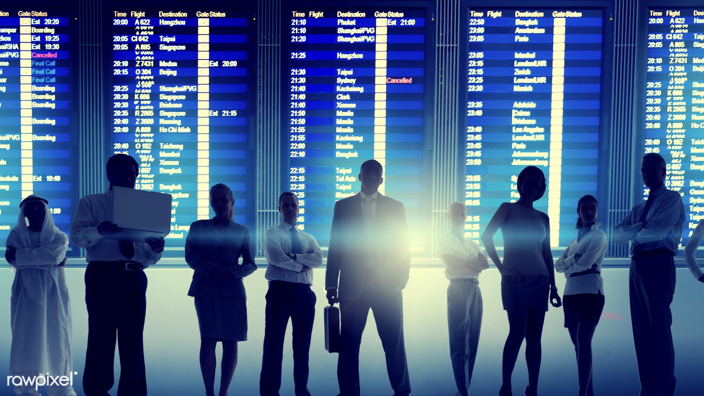 airline, airport, arrival, billboard, board, boarding, business, business people, business travel, businessmen,...