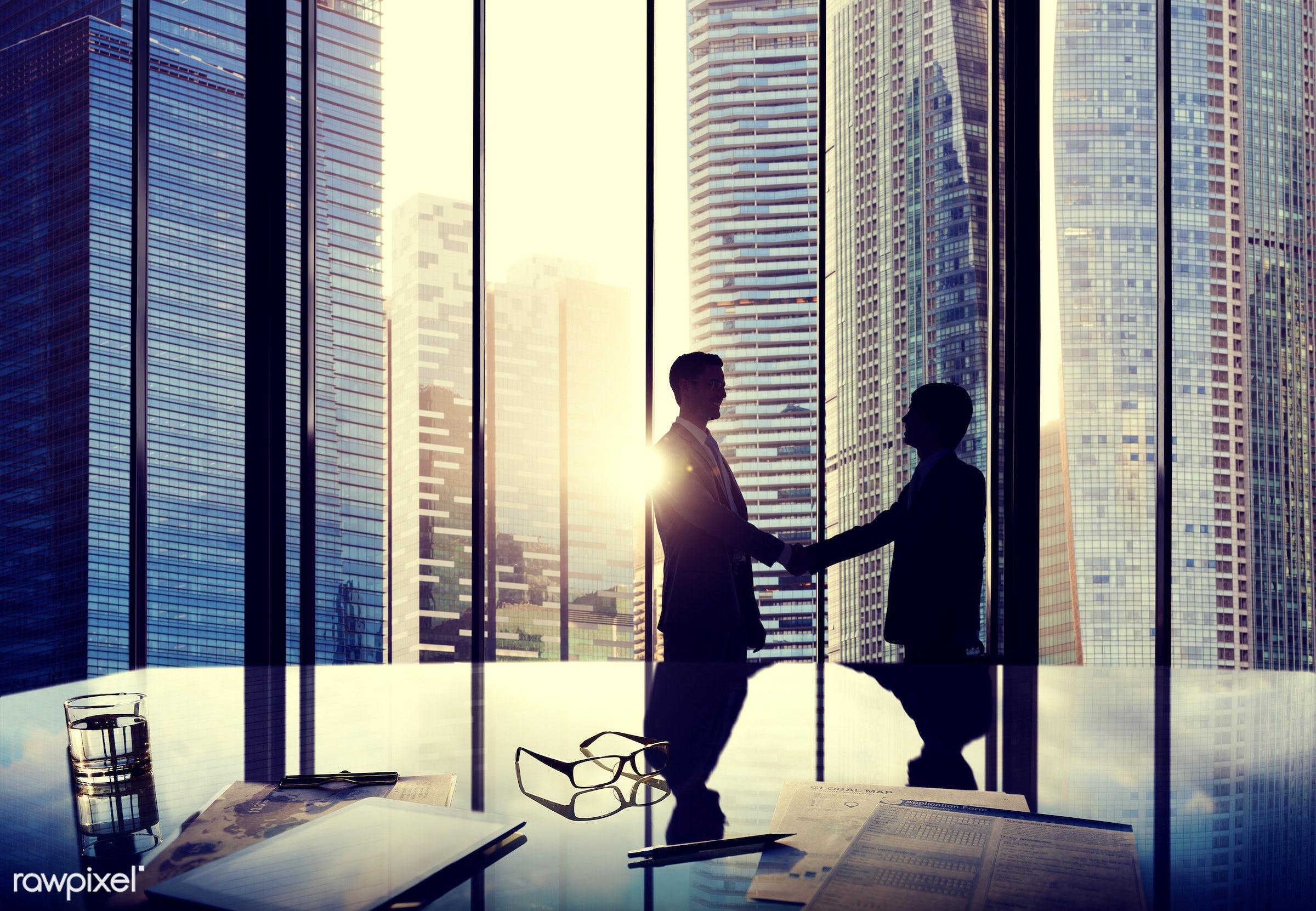 agreement, back lit, building, business, business people, businessmen, city, cityscape, colleague, communication, conference...