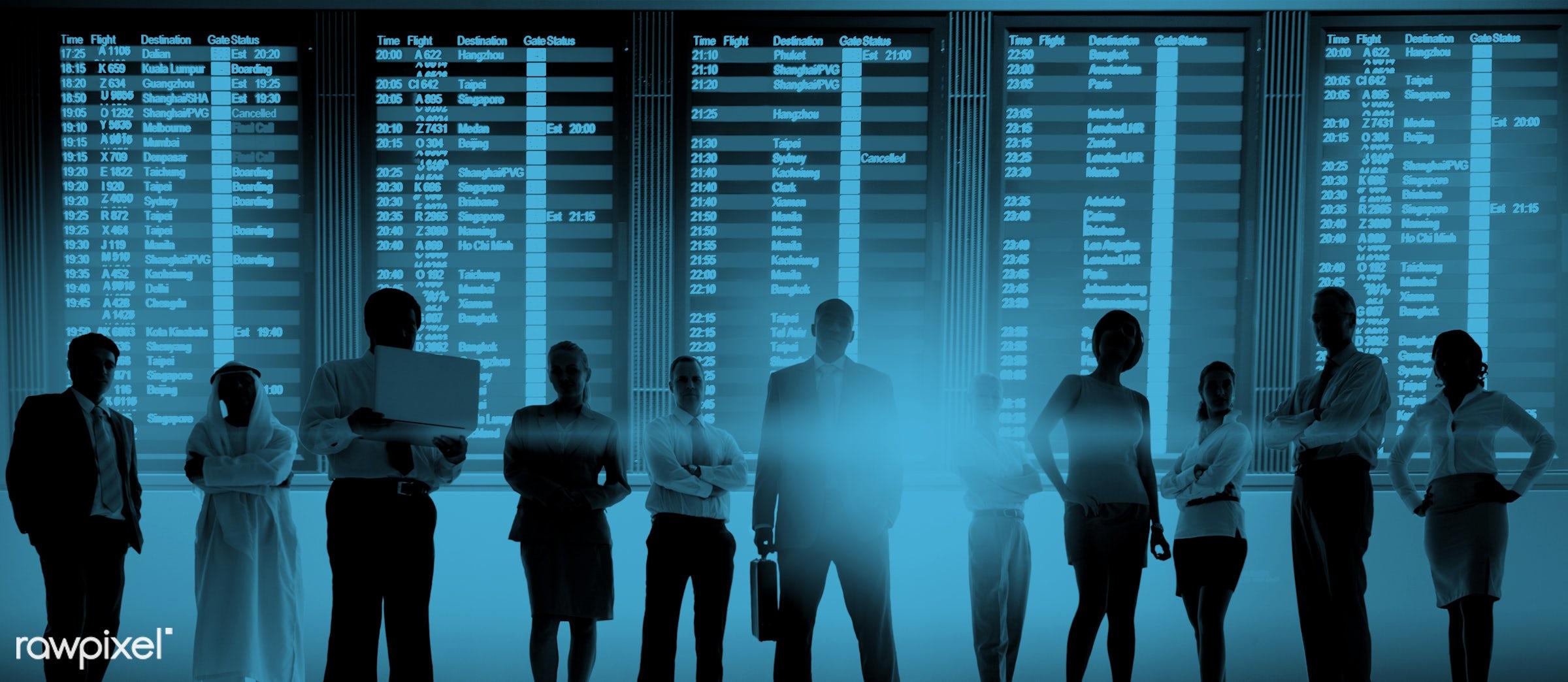 airline, airport, arrival, billboard, blue, board, boarding, business, business people, business travel, businessmen,...