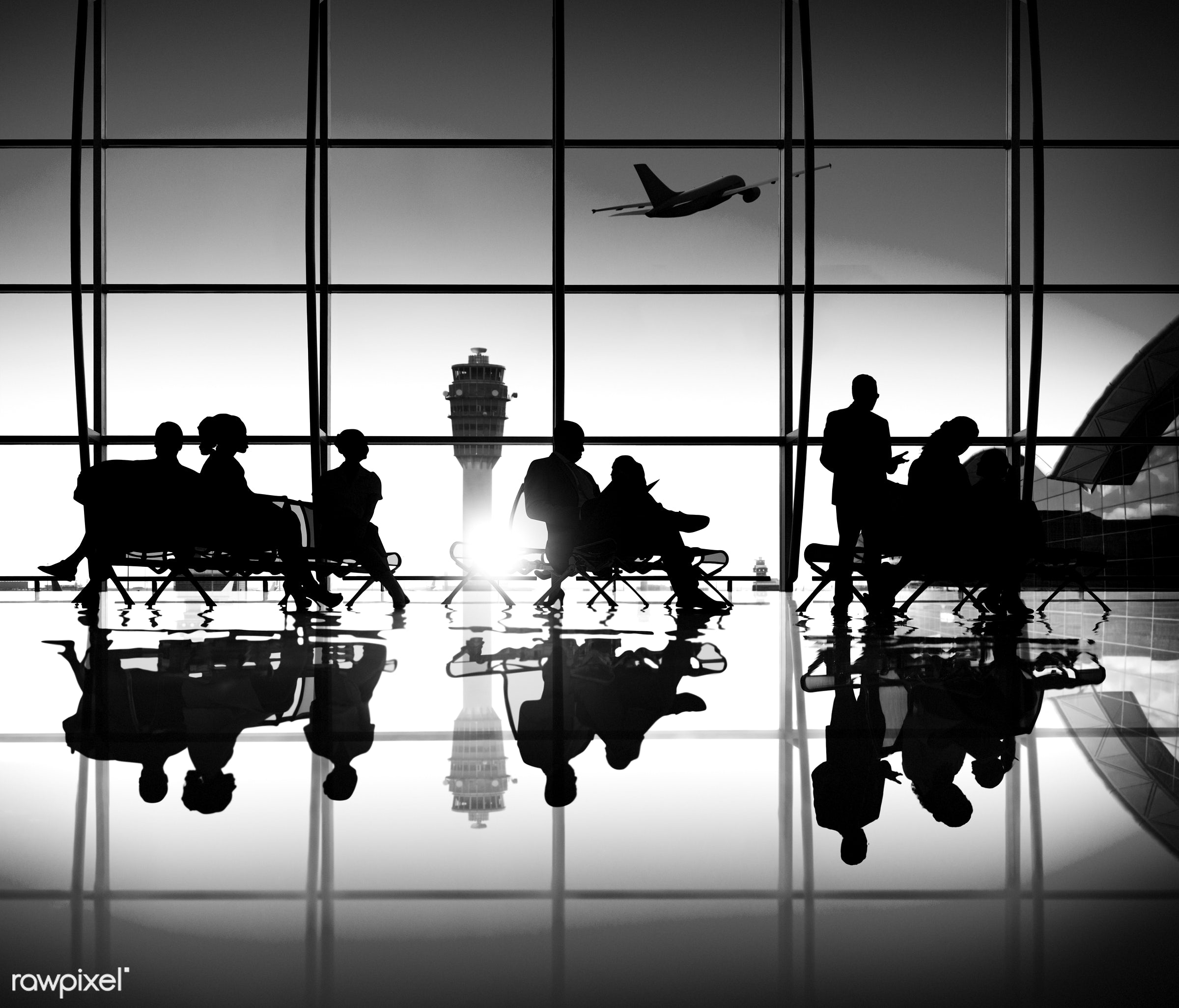 caucasian, air, air vehicle, airplane, airport, arrival, back lit, business, business men, business people, business travel...