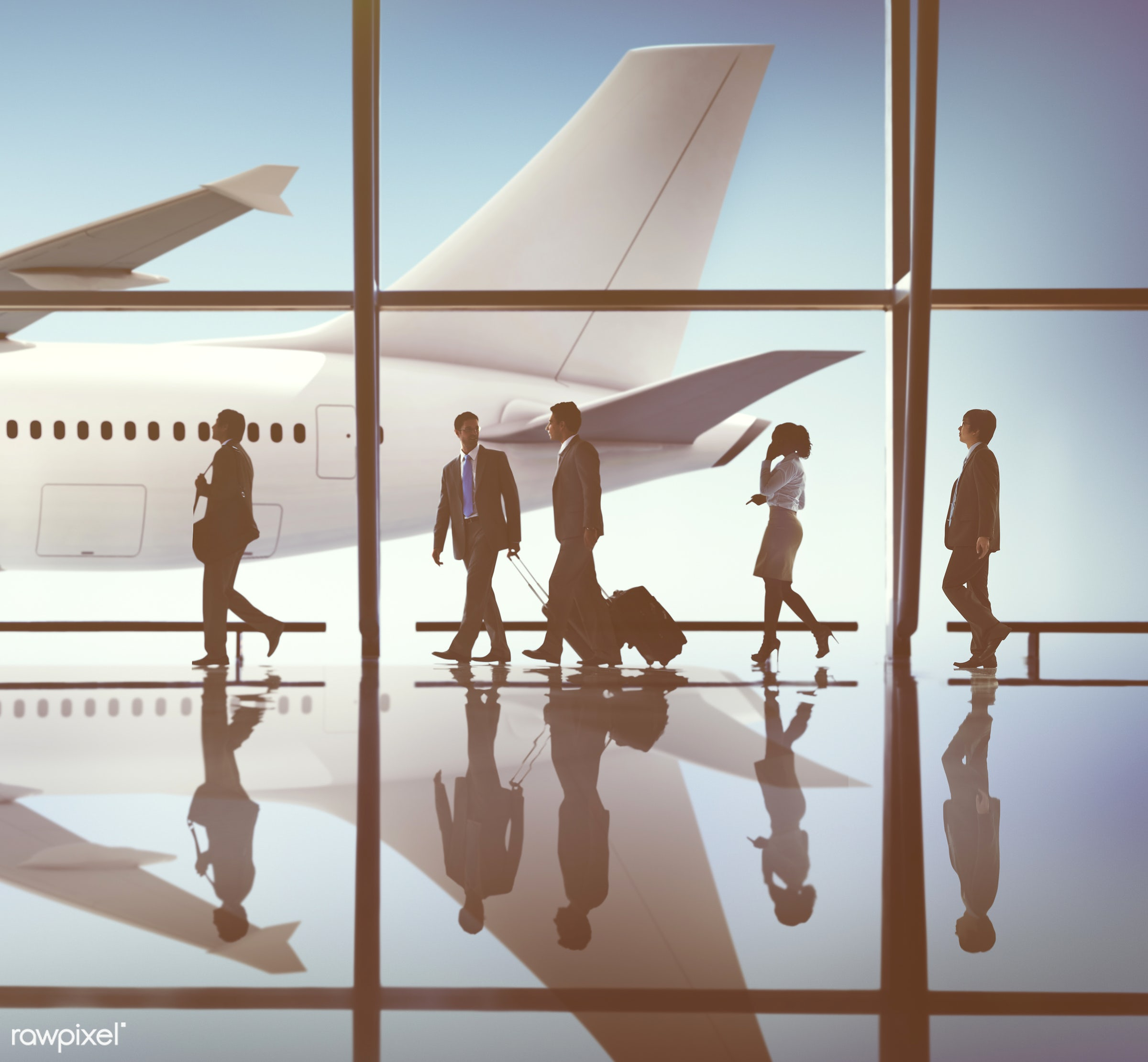 3d, business, aircraft, airplane, airport, arrival, back lit, business people, business travel, businessmen, businesswomen,...