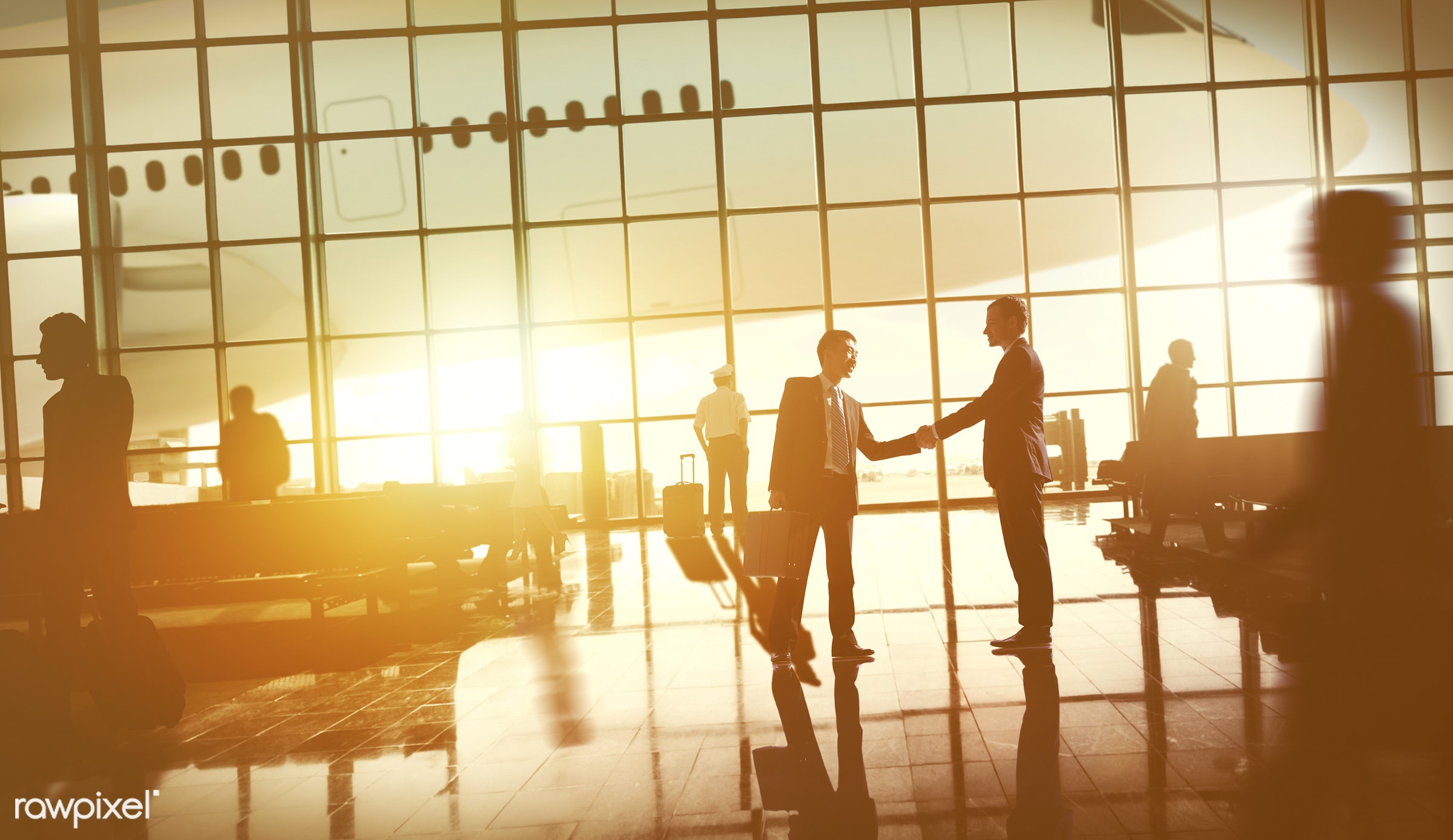 3d, agreement, business, aircraft, airplane, airport, arrival, back lit, business people, business travel, businessmen,...
