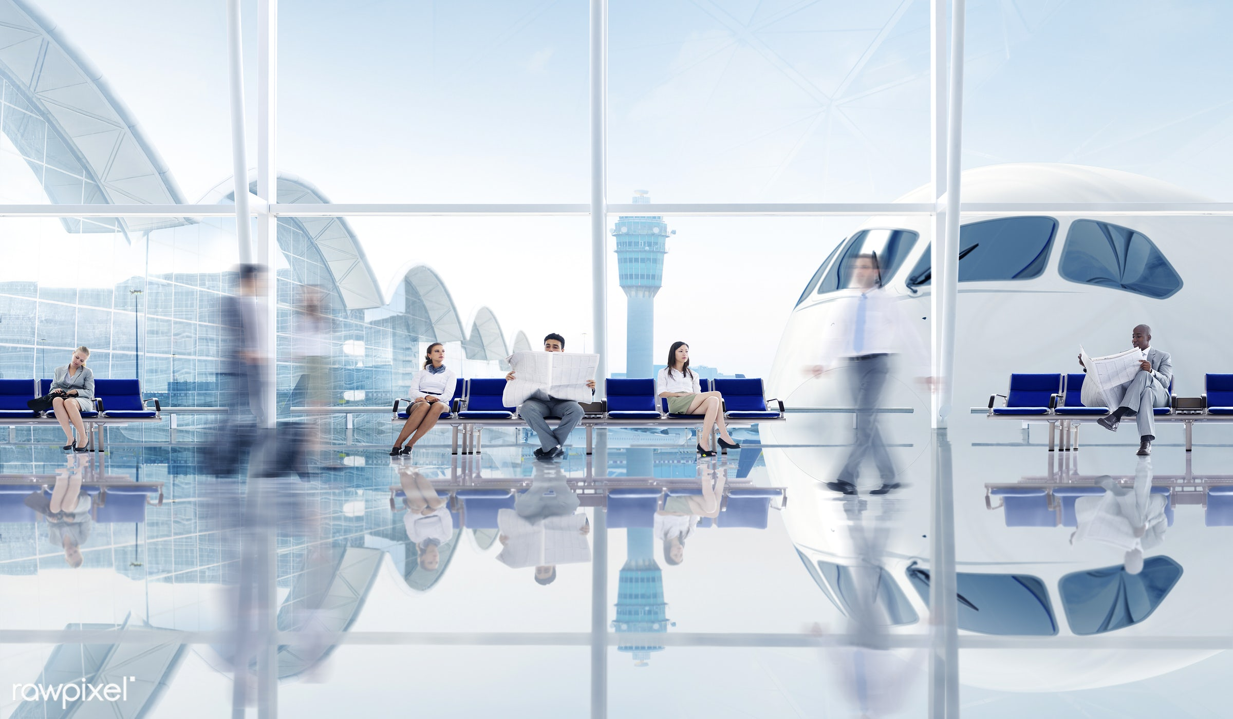airplane, airport, airport lounge, business, business person, business travel, cityscape, control tower, day, delayed,...