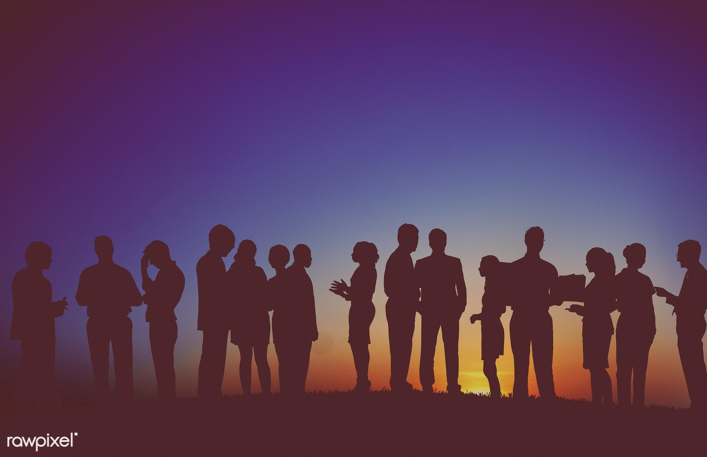 Dusk, back lit, blank, business, businessmen, businesswomen, career, colleagues, communication, connection, cooperation,...