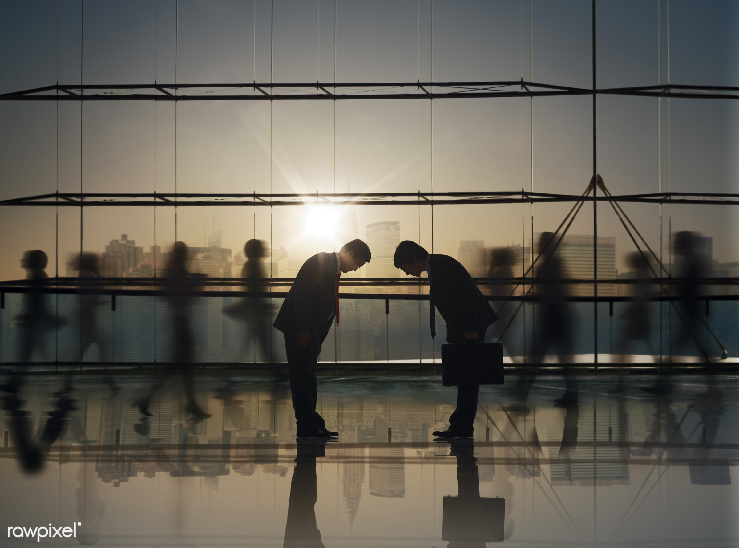 abstract, agreement, backlit, blue, bowing, business, business people, businessmen, businesswomen, city light, cityscape,...