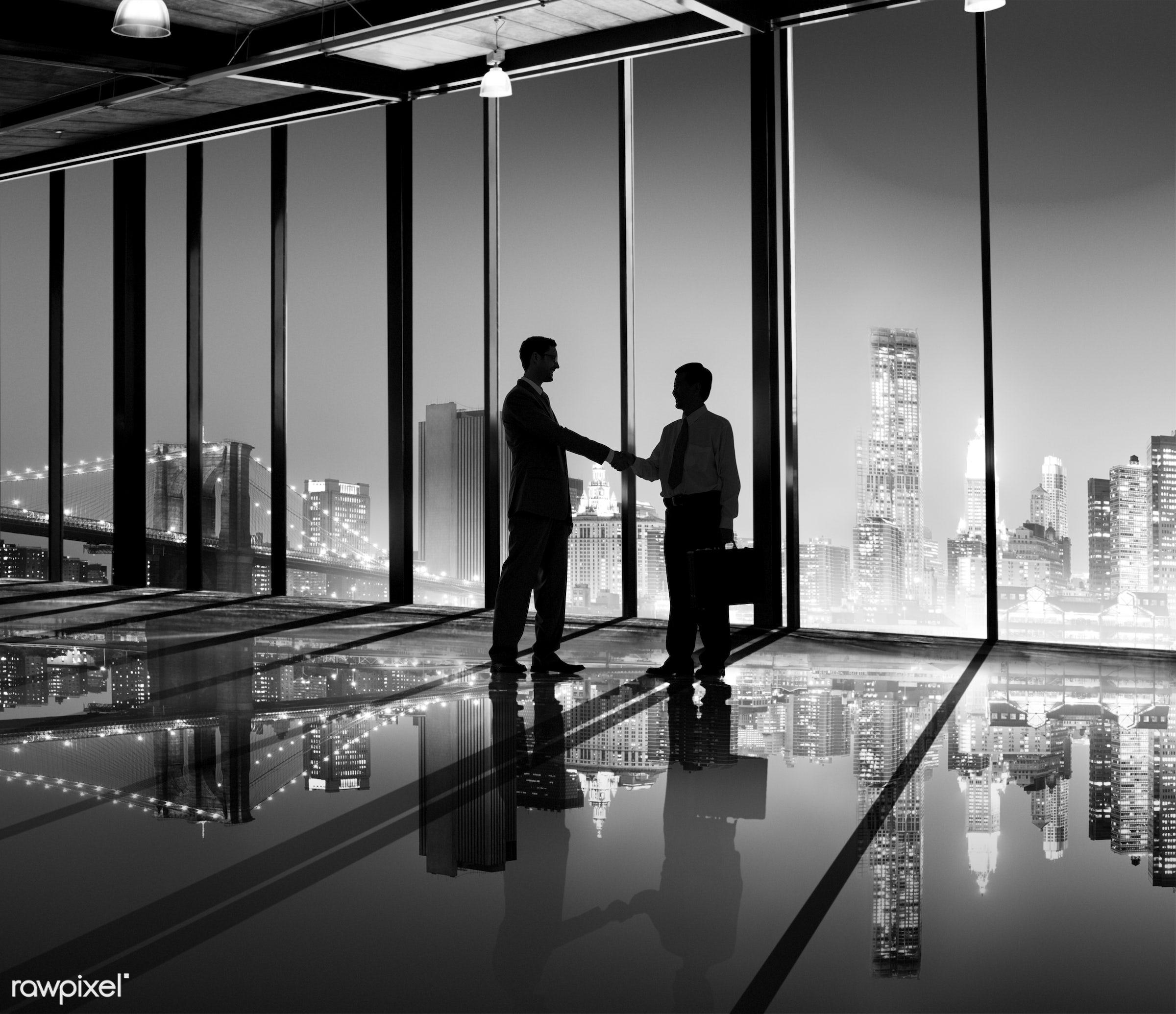 achievement, adult, advice, agreement, back lit, brainstorming, briefcase, business, business people, businessmen, cityscape...