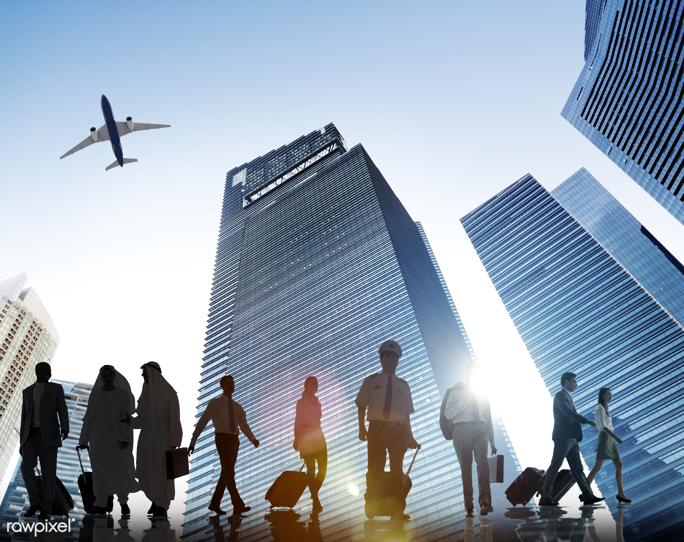 3d, african descent, aircraft, airplane, asian ethnicity, back lit, baggage, buildings, business, business people, business...