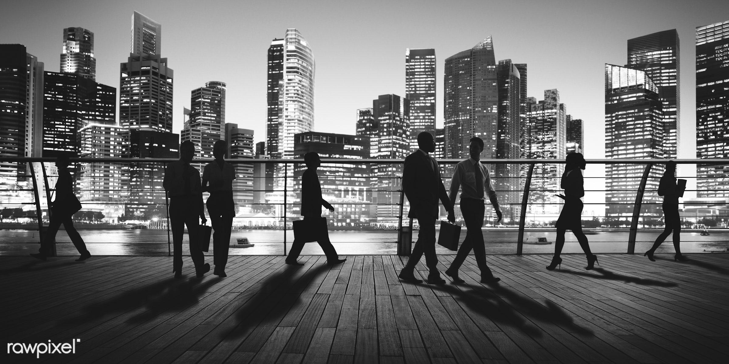 Dusk, back lit, bay, building, business, business people, businessmen, businesswomen, city, city lights, cityscape,...