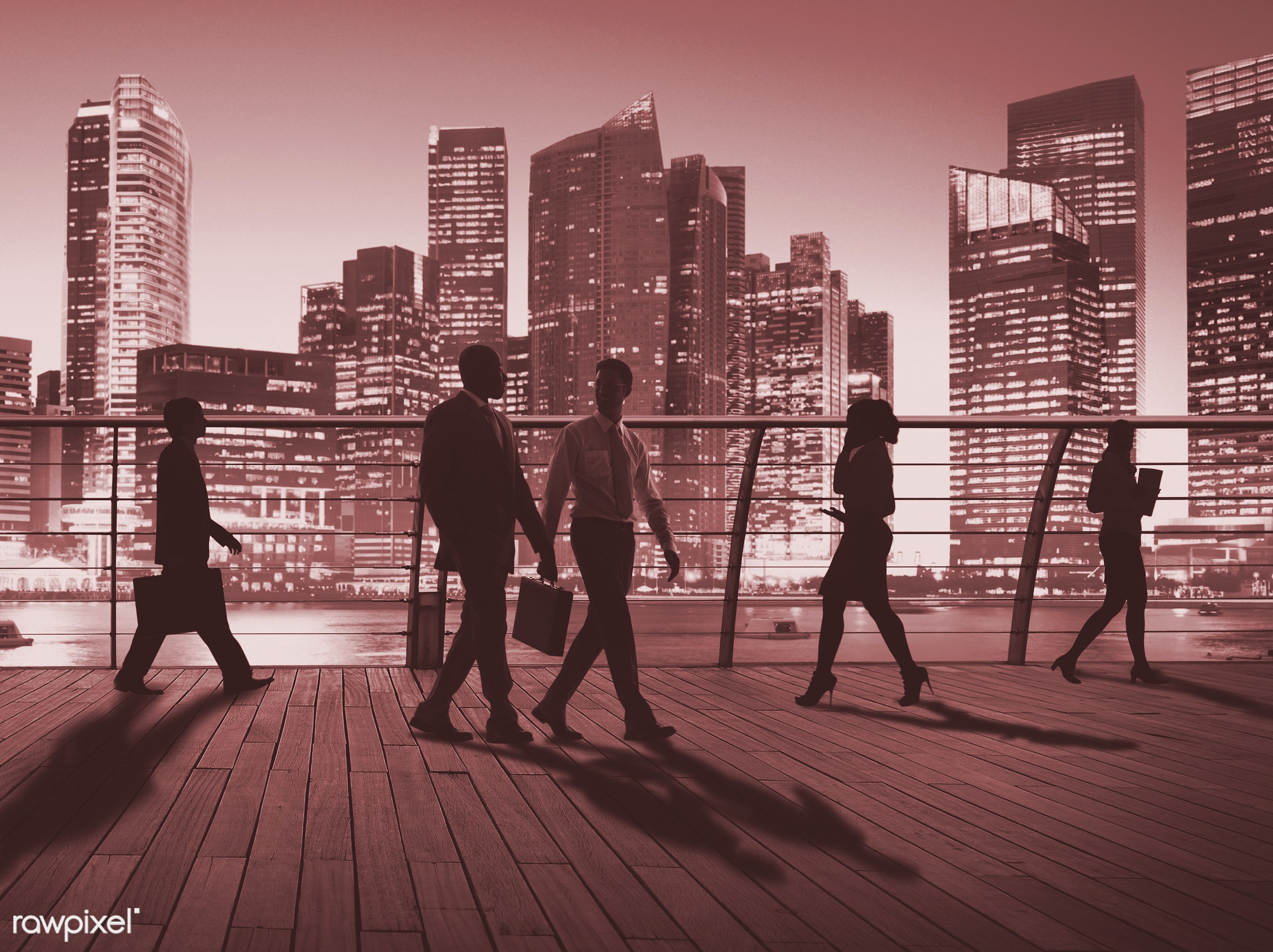 Dusk, back lit, bay, building, business, business people, businessmen, businesswomen, city, city lights, cityscape,...