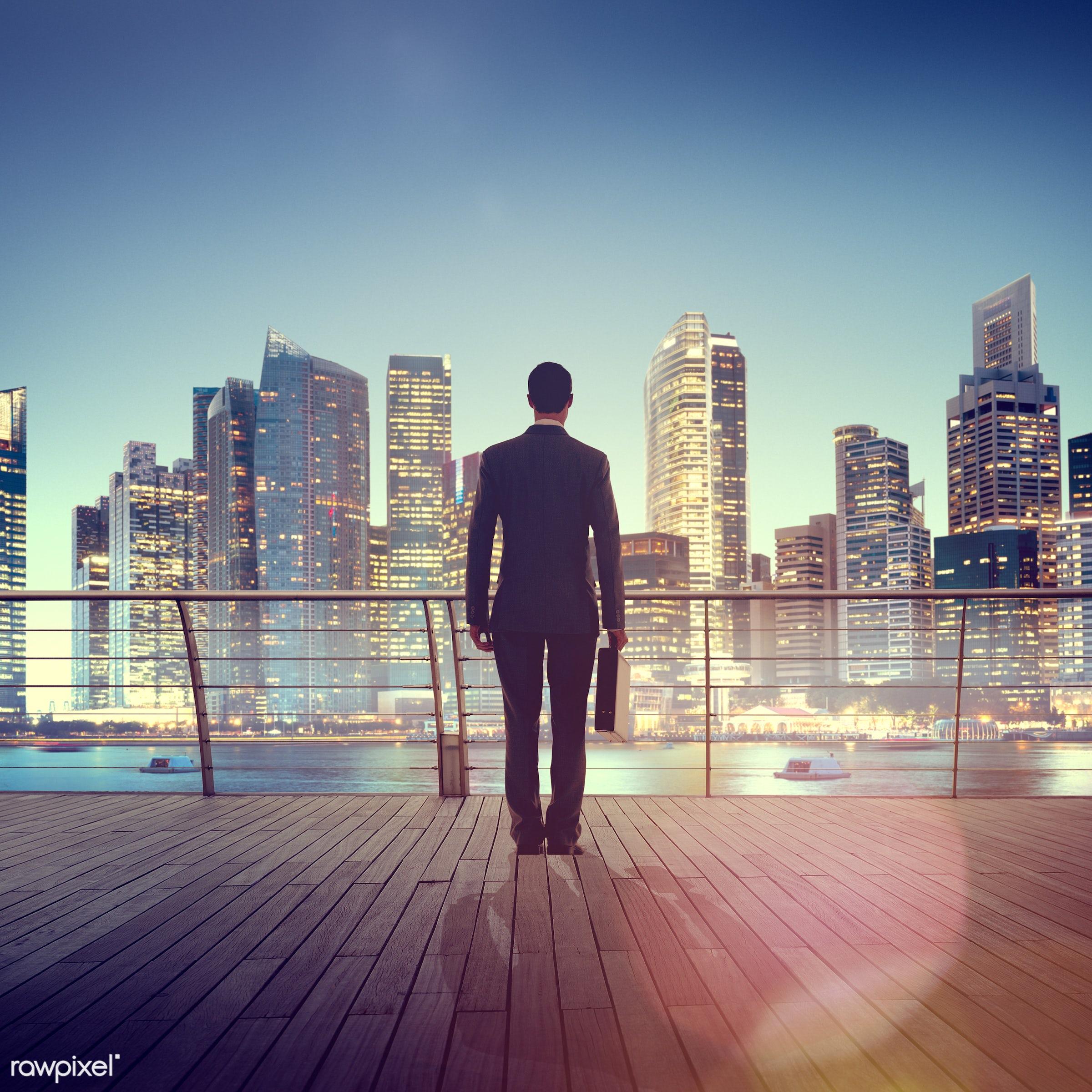 contemporary, Dusk, bar, building, business, businessman, city, city lights, cityscape, contemplation, corporate, harbor,...