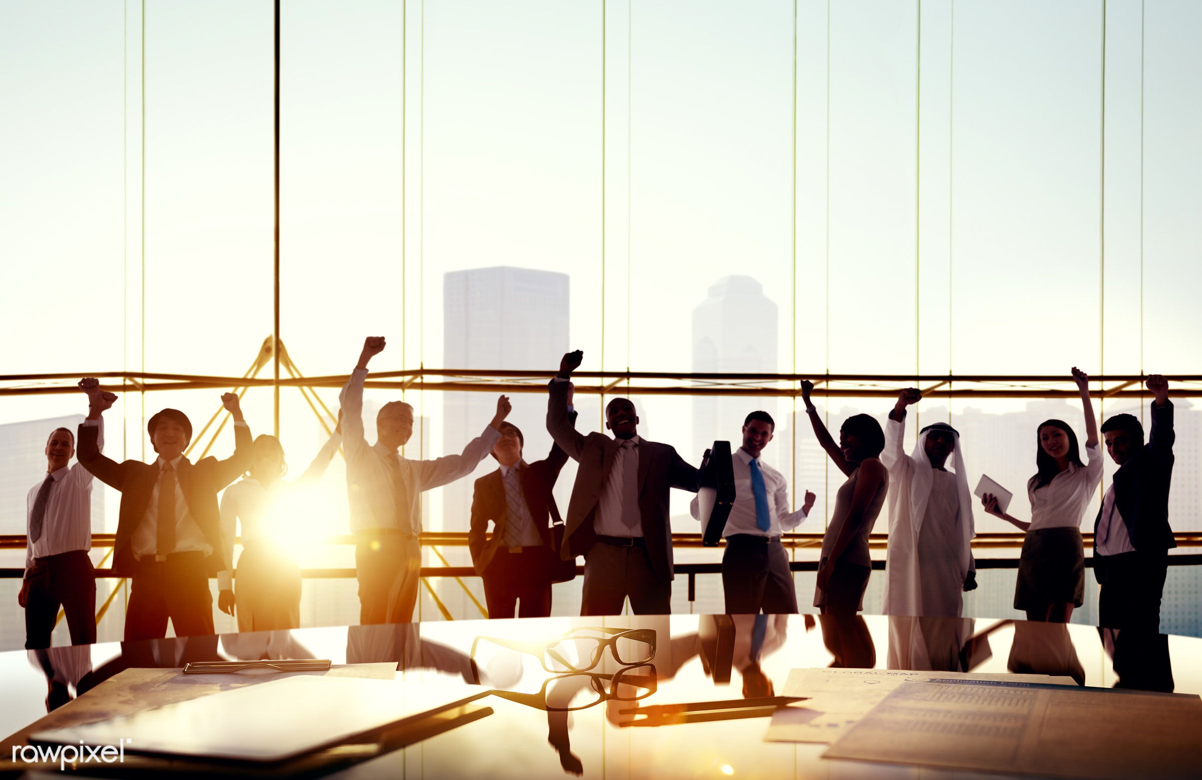 achievement, african descent, arms raised, asian ethnicity, board room, business, business people, businessmen,...