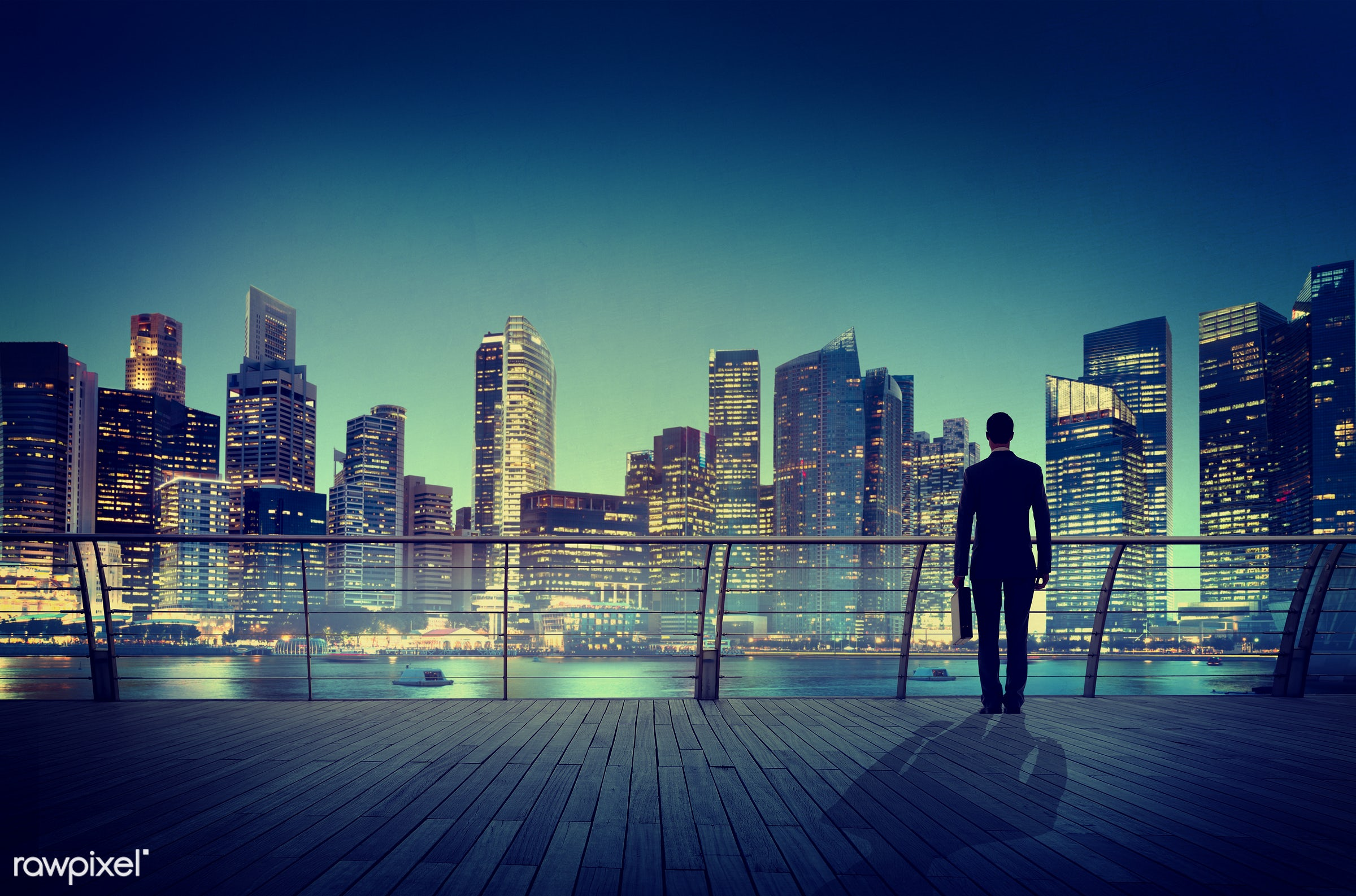 contemporary, alone, boat, briefcase, building, business, business district, businessman, city, city lights, cityscape,...
