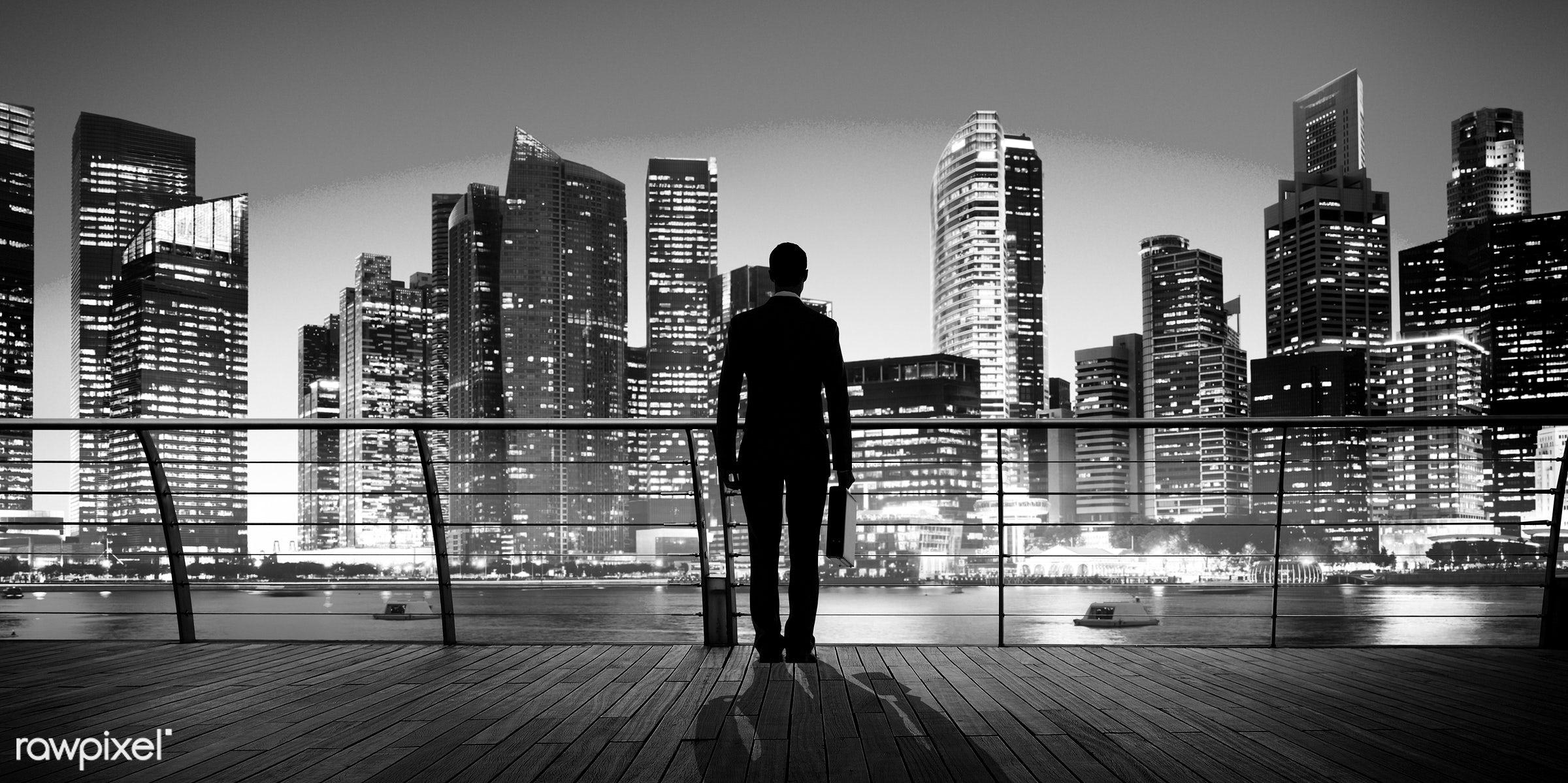 alone, asia, back lit, boat, briefcase, buildings, business, business district, business person, businessman, city, city...
